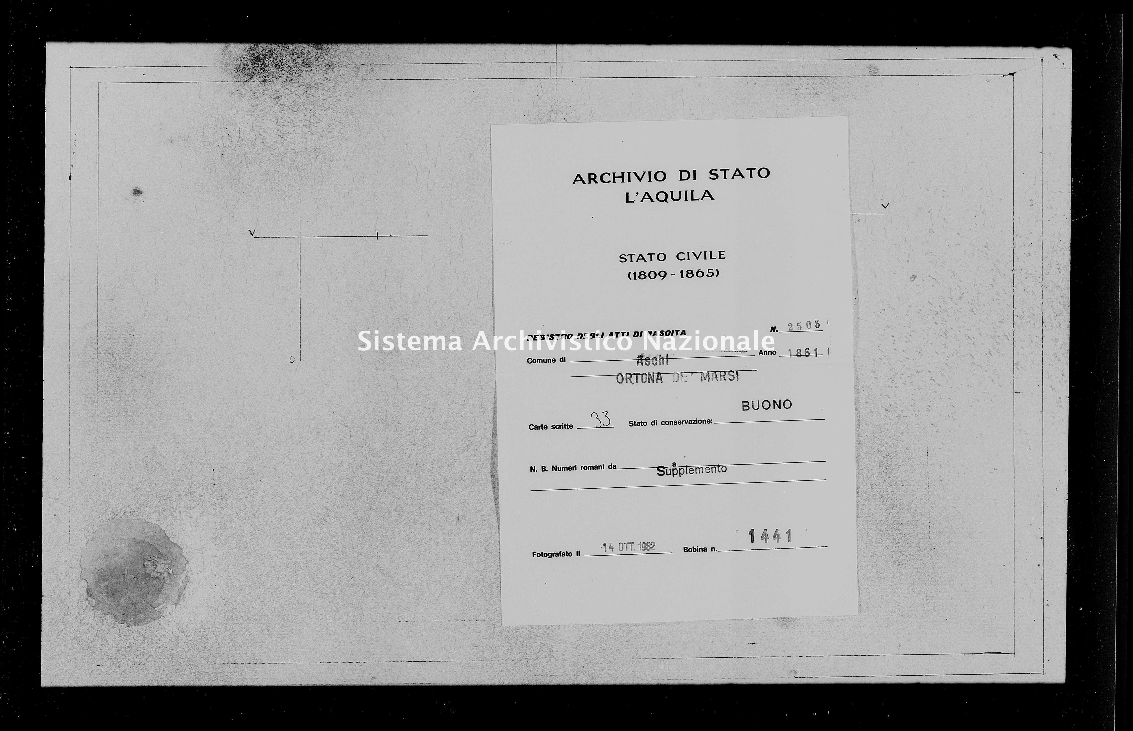 Archivio di stato di L'aquila - Stato civile italiano - Aschi - Nati, battesimi - 1861 - 2503 -