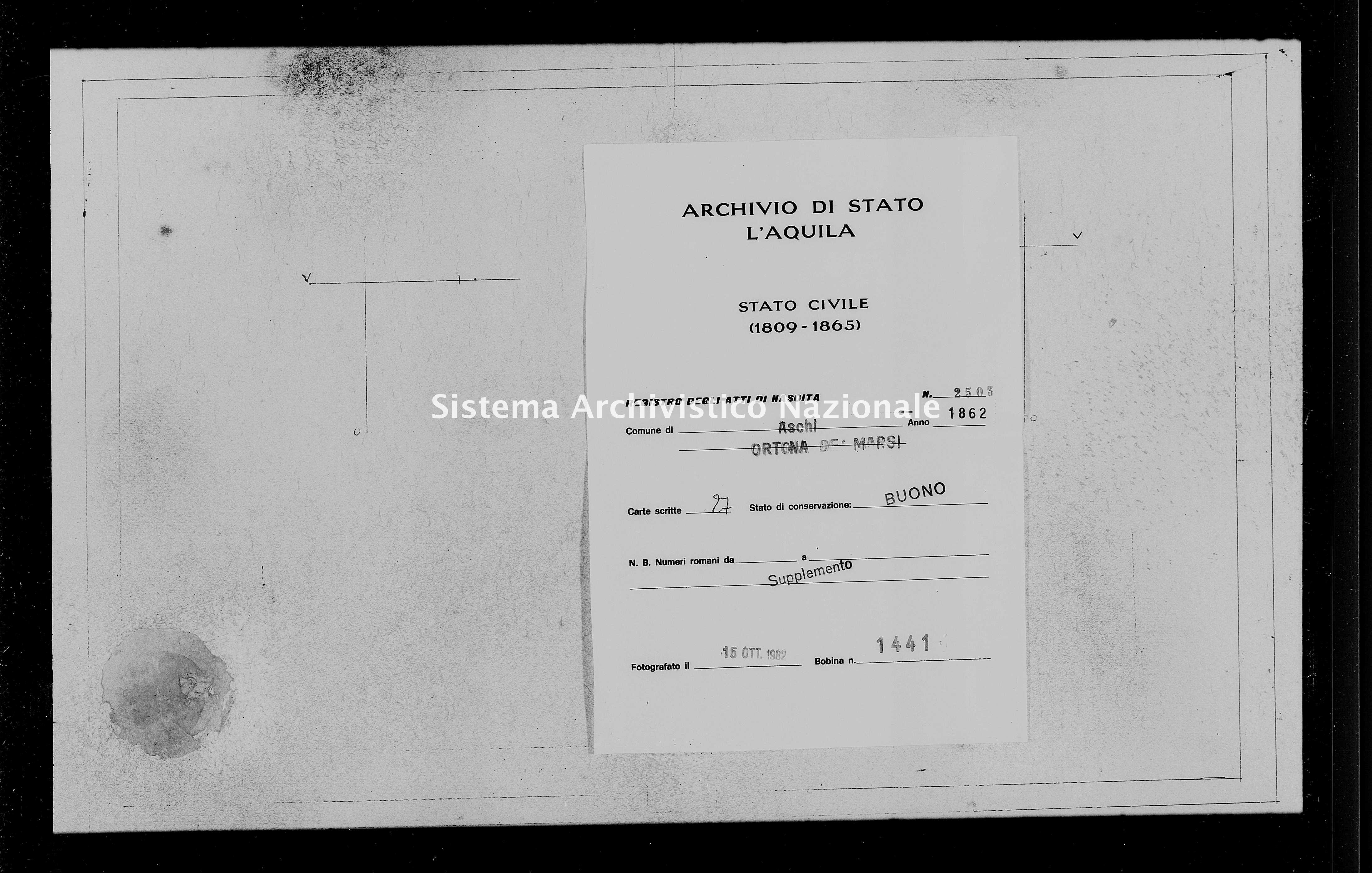Archivio di stato di L'aquila - Stato civile italiano - Aschi - Nati, battesimi - 1862 - 2503 -
