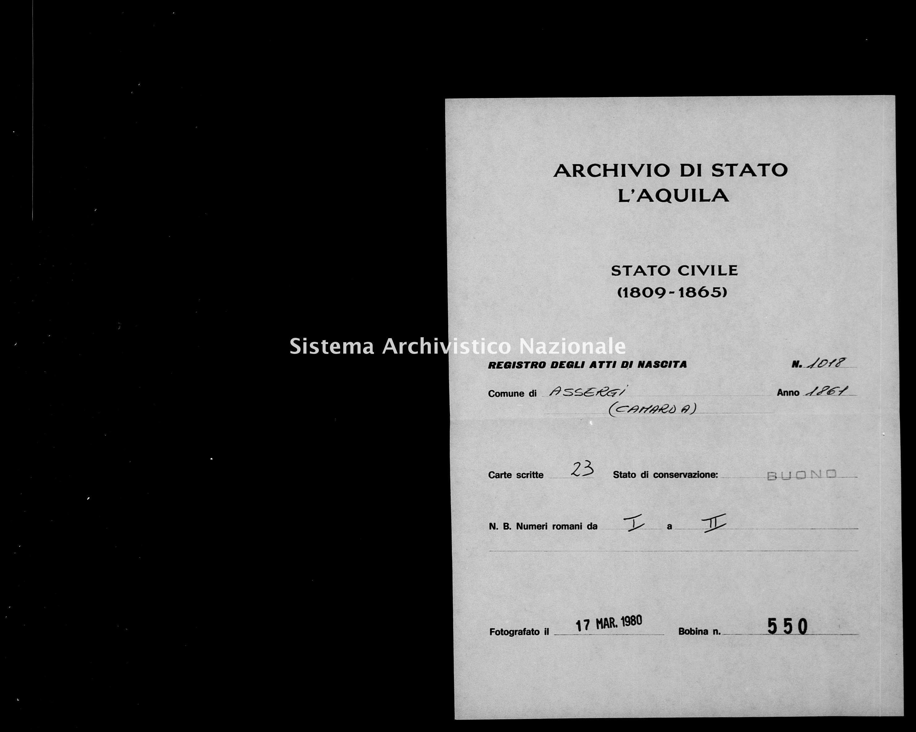 Archivio di stato di L'aquila - Stato civile italiano - Assergi - Nati - 1861 - 1018 -