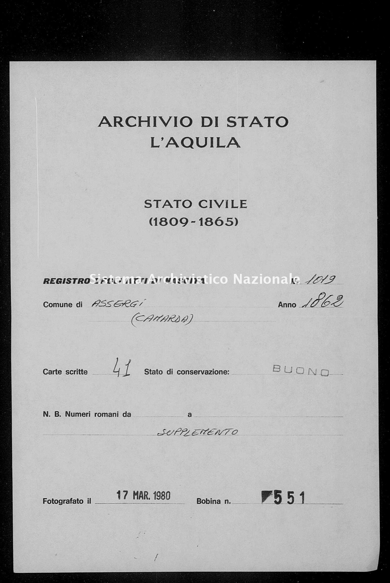 Archivio di stato di L'aquila - Stato civile italiano - Assergi - Nati, battesimi - 1862 - 1019 -