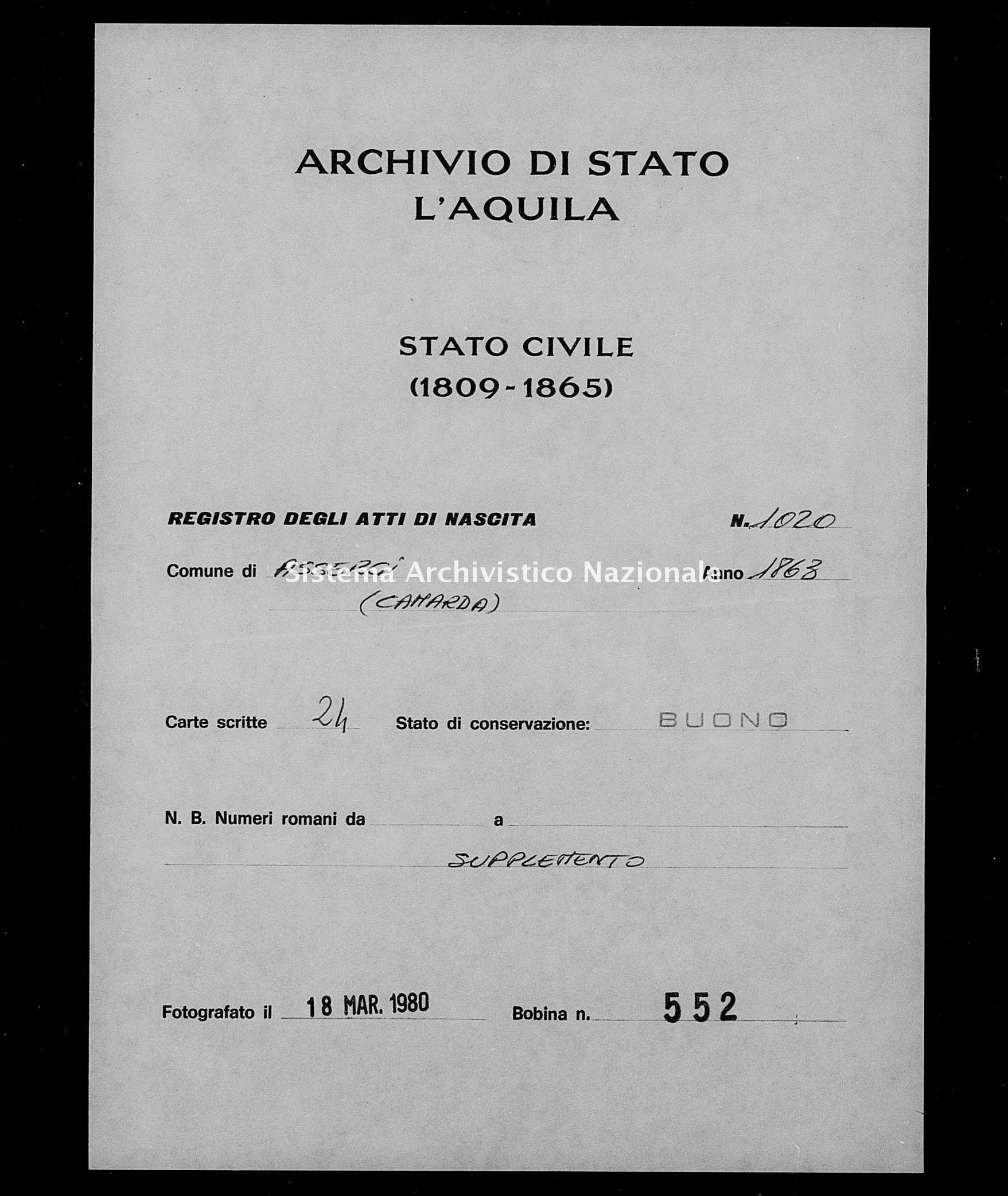 Archivio di stato di L'aquila - Stato civile italiano - Assergi - Nati, battesimi - 1863 - 1020 -