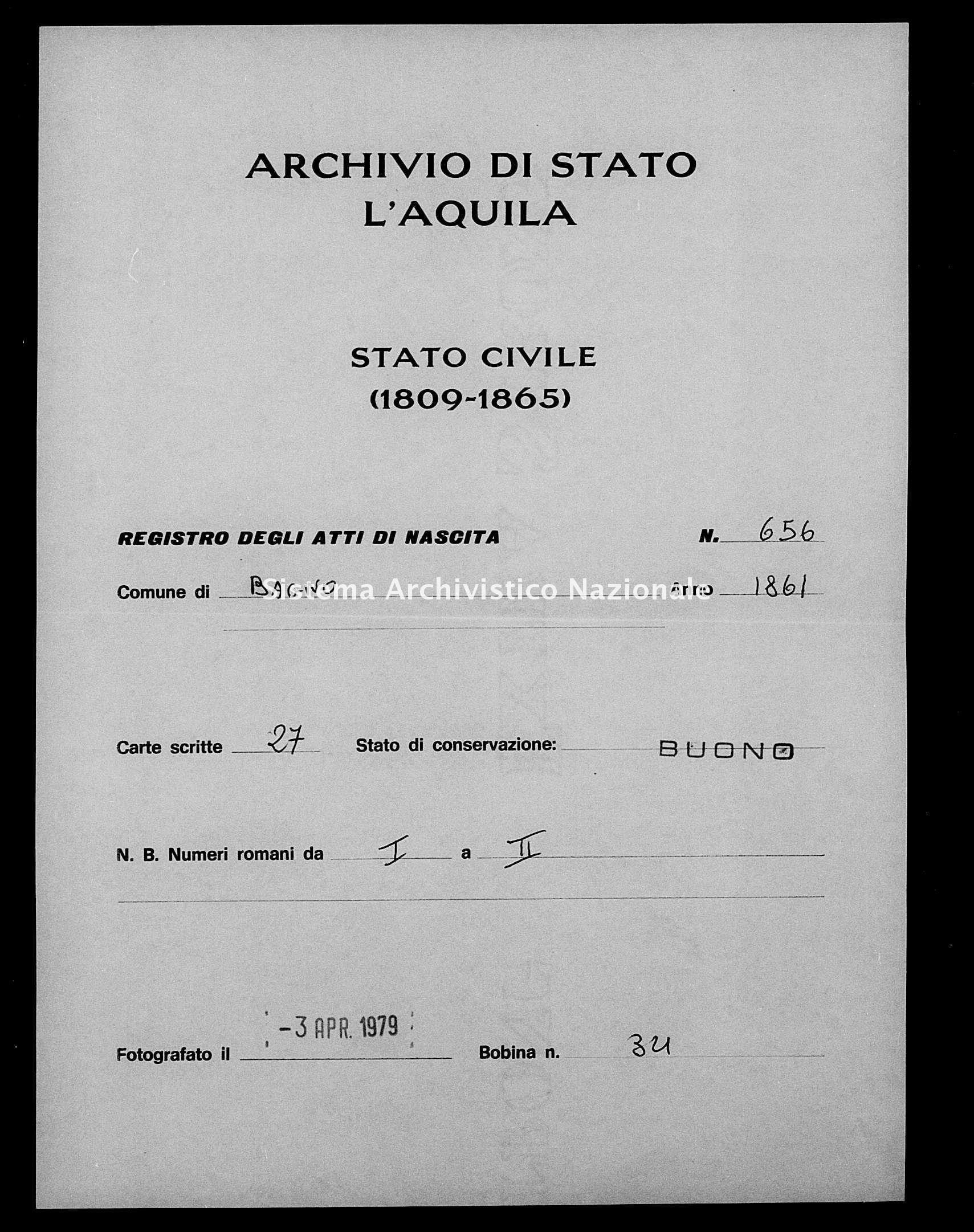 Archivio di stato di L'aquila - Stato civile italiano - Bagno - Nati - 1861 - 656 -