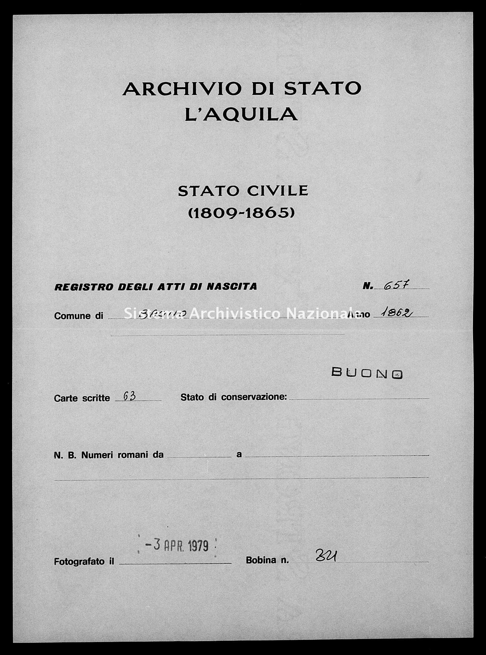 Archivio di stato di L'aquila - Stato civile italiano - Bagno - Nati, battesimi - 1862 - 657 -