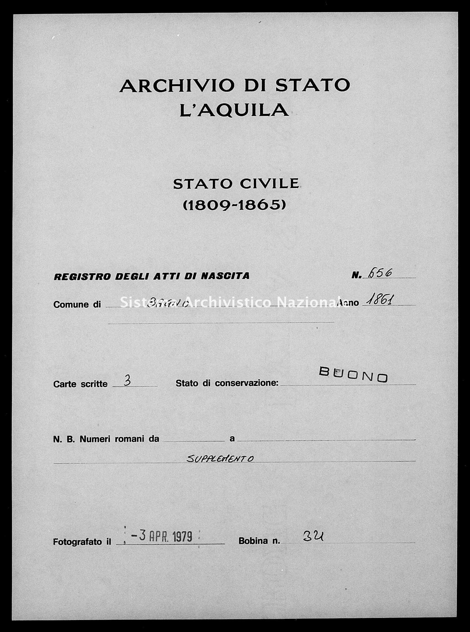 Archivio di stato di L'aquila - Stato civile italiano - Bagno - Nati esposti - 1861 - 656 -