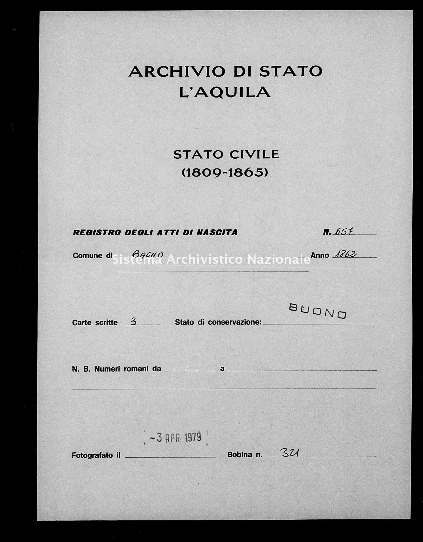 Archivio di stato di L'aquila - Stato civile italiano - Bagno - Nati esposti - 1862 - 657 -