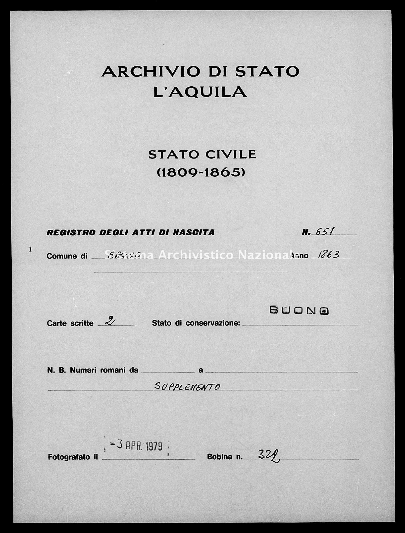 Archivio di stato di L'aquila - Stato civile italiano - Bagno - Nati esposti - 1863 - 657 -
