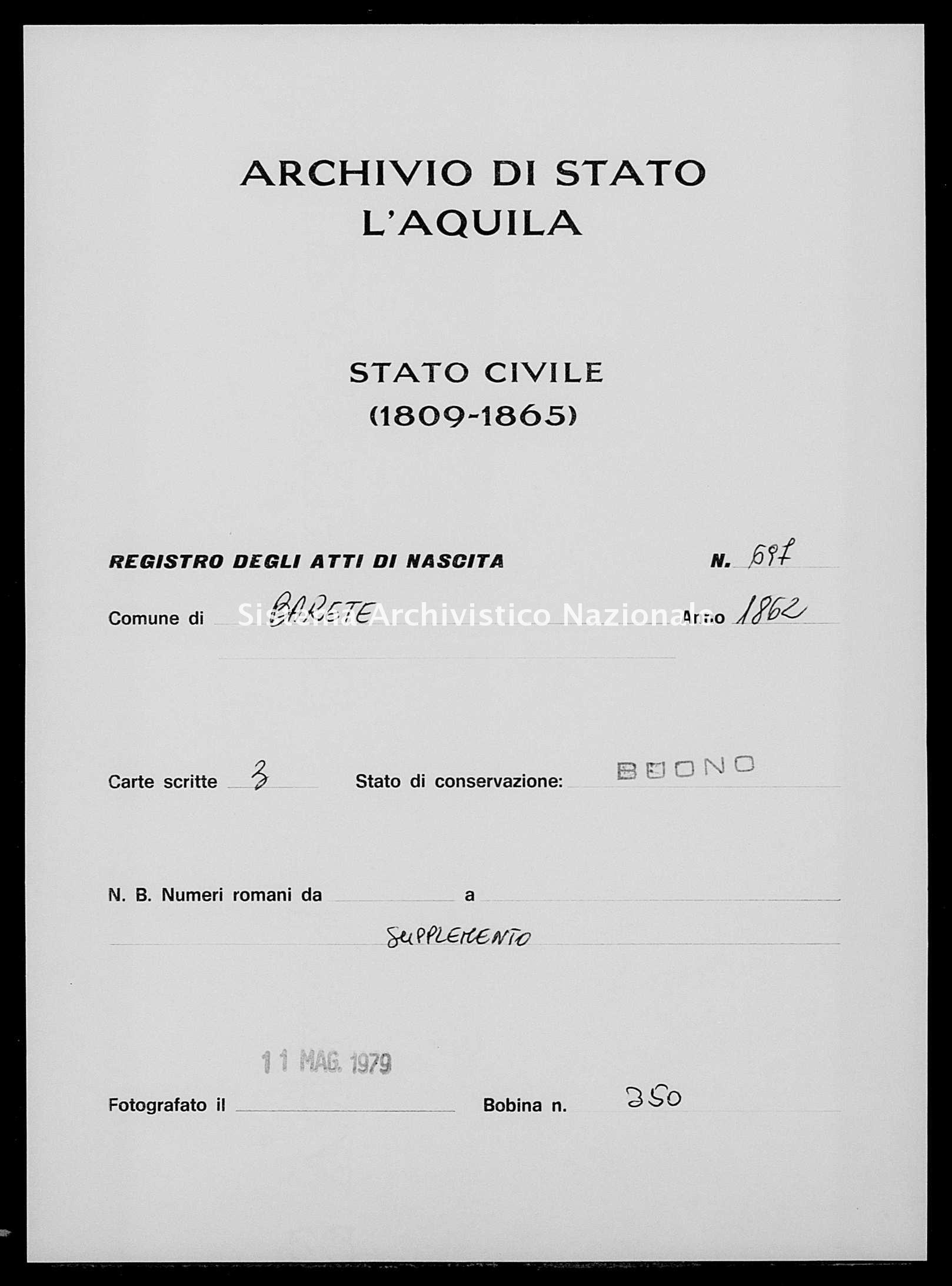 Archivio di stato di L'aquila - Stato civile italiano - Barete - Nati, esposti - 1862 - 697 -