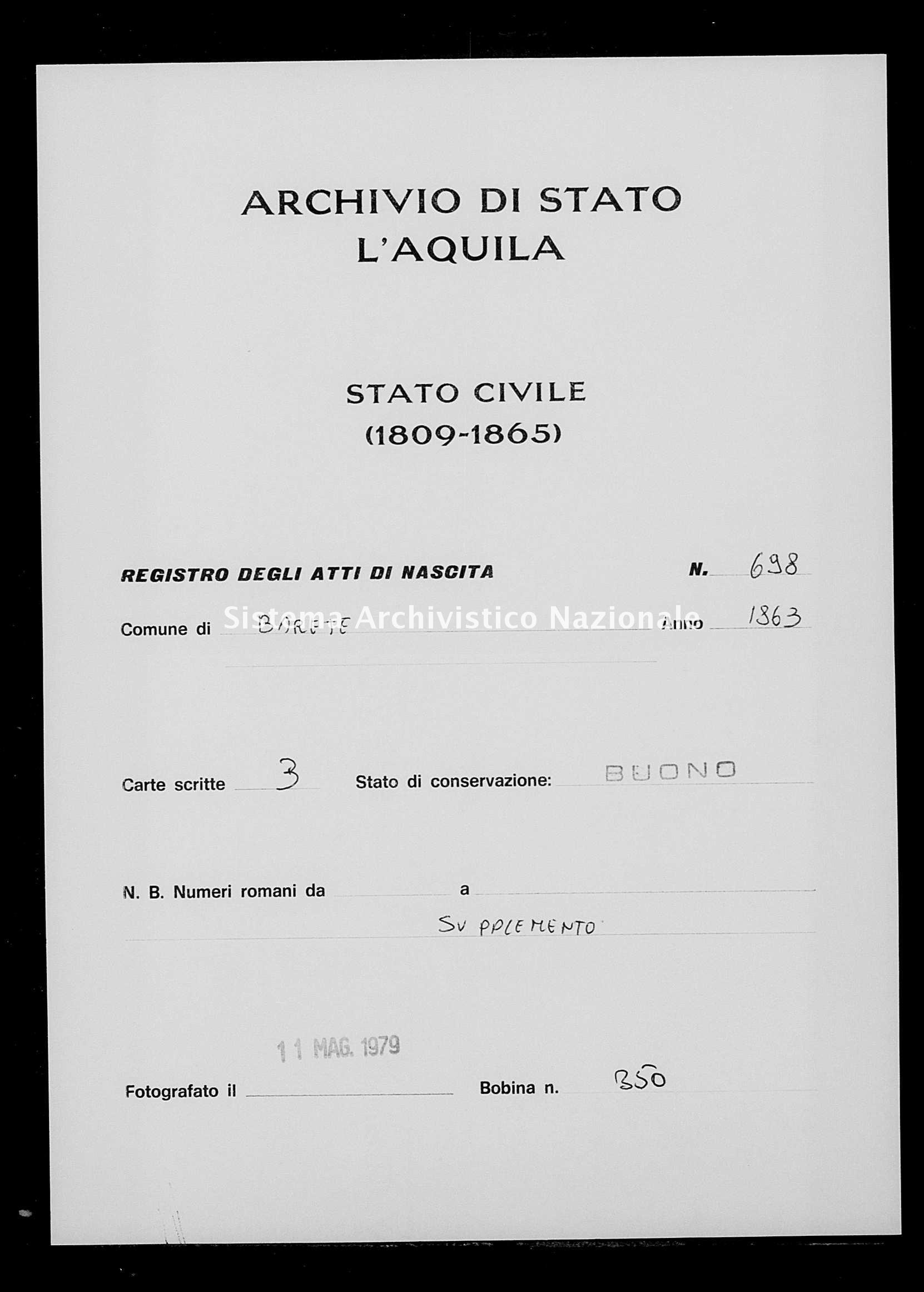 Archivio di stato di L'aquila - Stato civile italiano - Barete - Nati, esposti - 1863 - 698 -