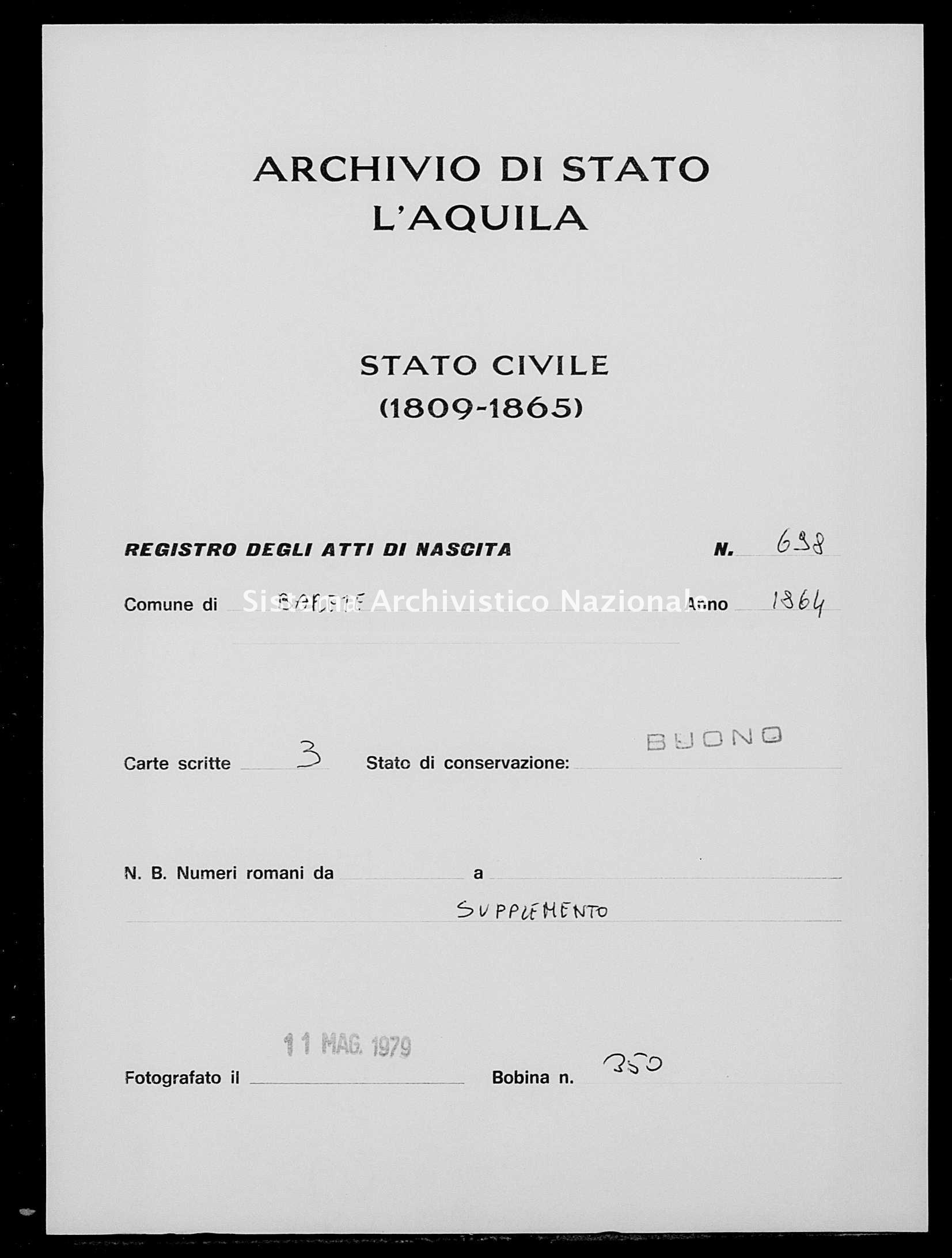 Archivio di stato di L'aquila - Stato civile italiano - Barete - Nati, esposti - 1864 - 698 -