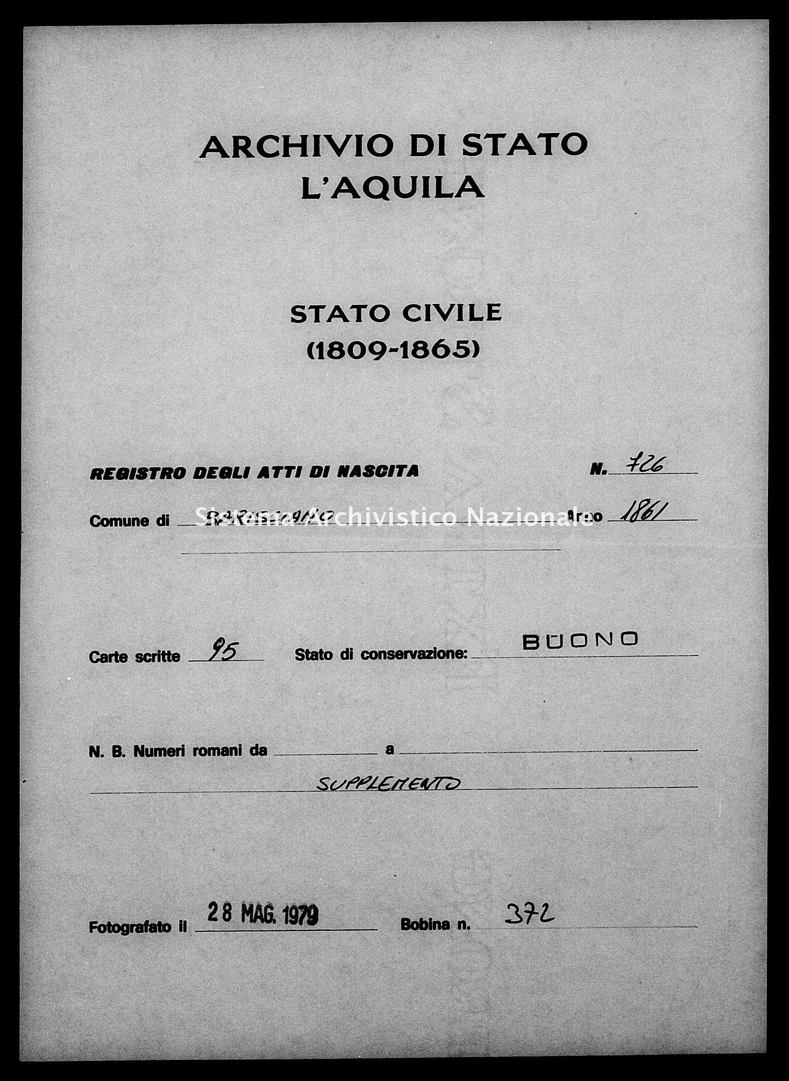 Archivio di stato di L'aquila - Stato civile italiano - Barisciano - Nati, battesimi - 1861 - 726 -