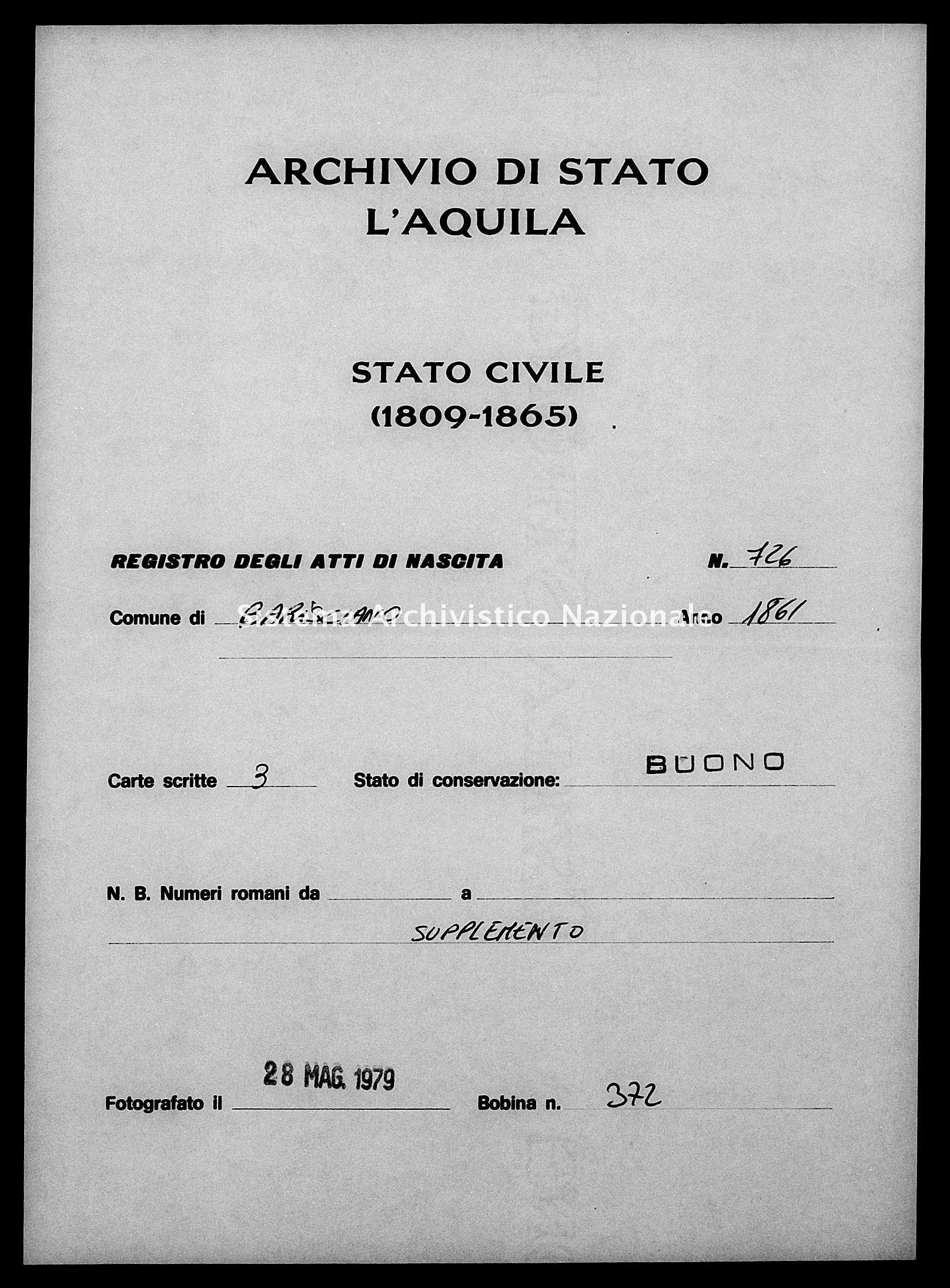 Archivio di stato di L'aquila - Stato civile italiano - Barisciano - Nati, esposti - 1861 - 726 -