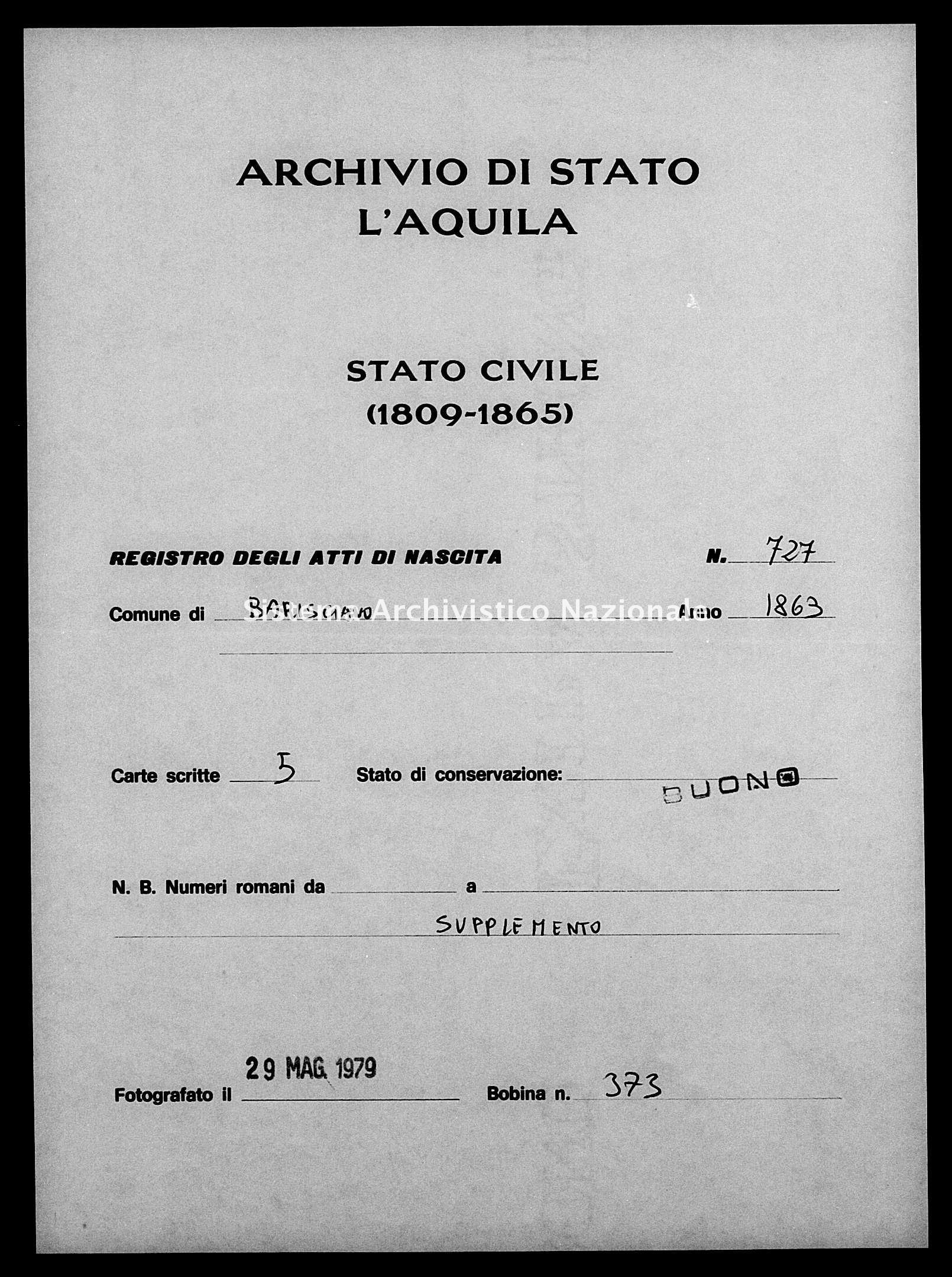 Archivio di stato di L'aquila - Stato civile italiano - Barisciano - Nati, esposti - 1863 - 727 -