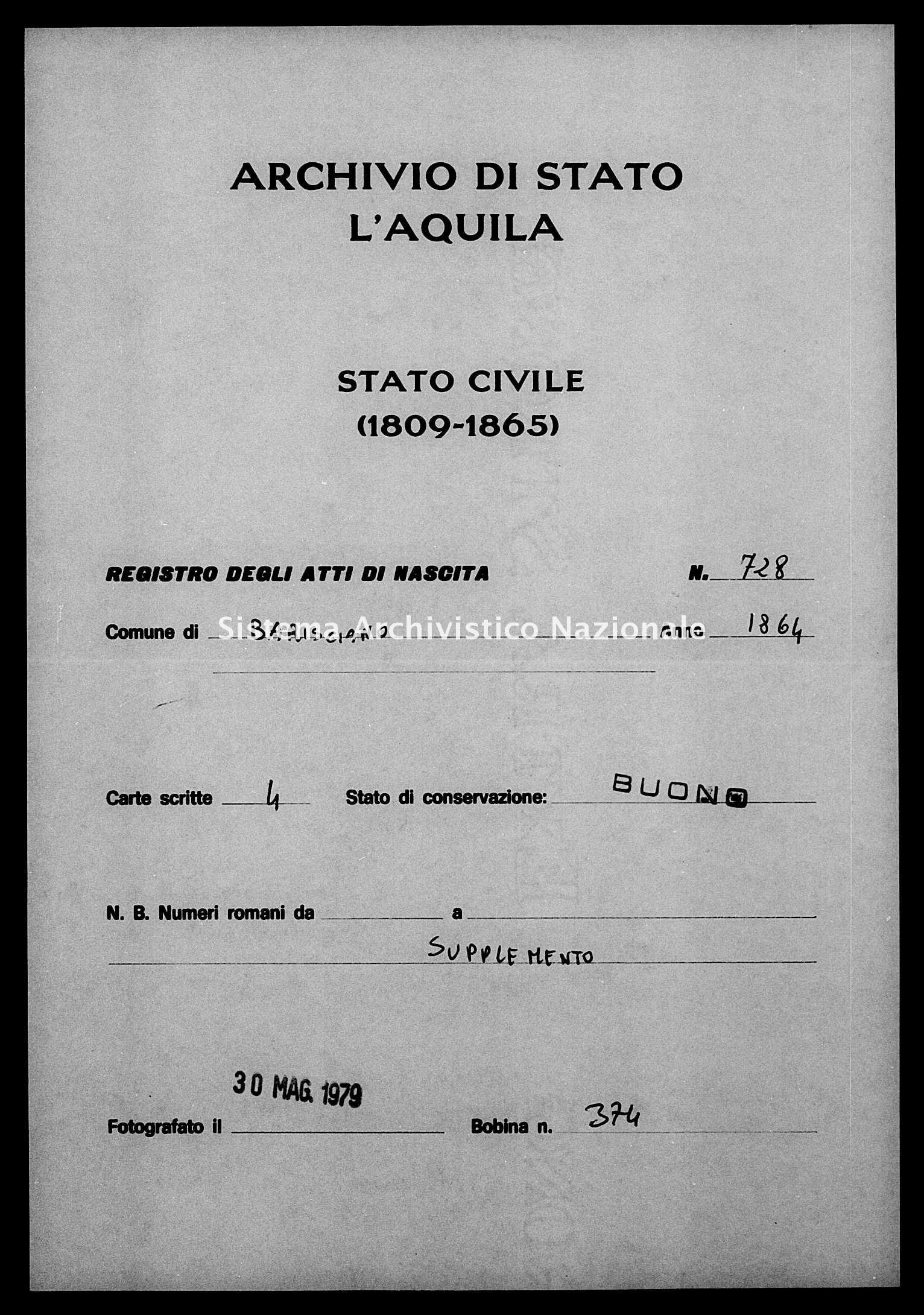 Archivio di stato di L'aquila - Stato civile italiano - Barisciano - Nati, esposti - 1864 - 728 -