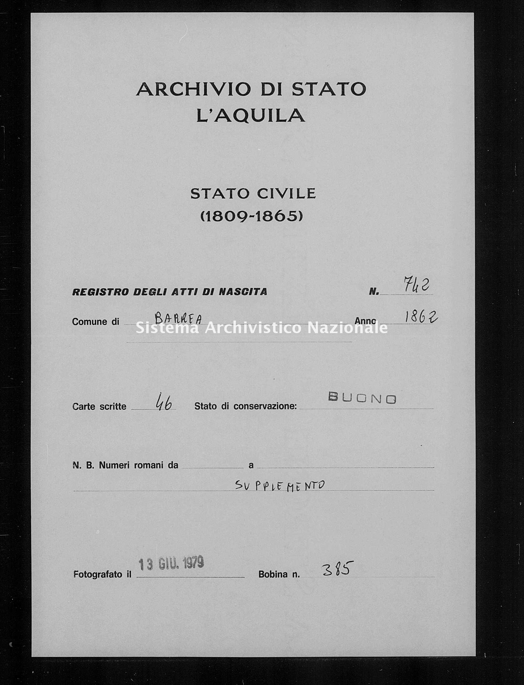 Archivio di stato di L'aquila - Stato civile italiano - Barrea - Nati, battesimi - 1862 - 762 -