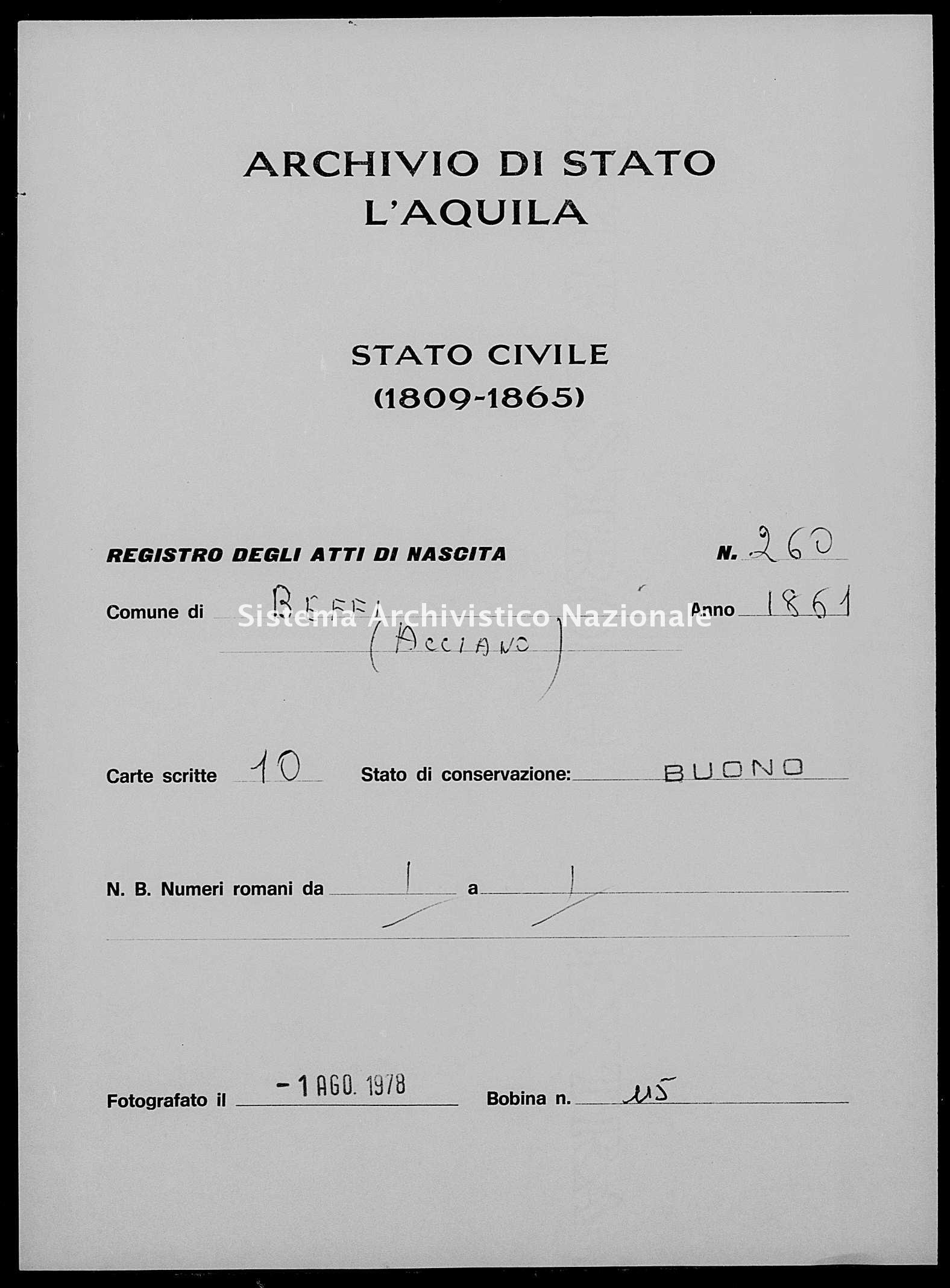 Archivio di stato di L'aquila - Stato civile italiano - Beffi - Nati - 1861 - 260 -