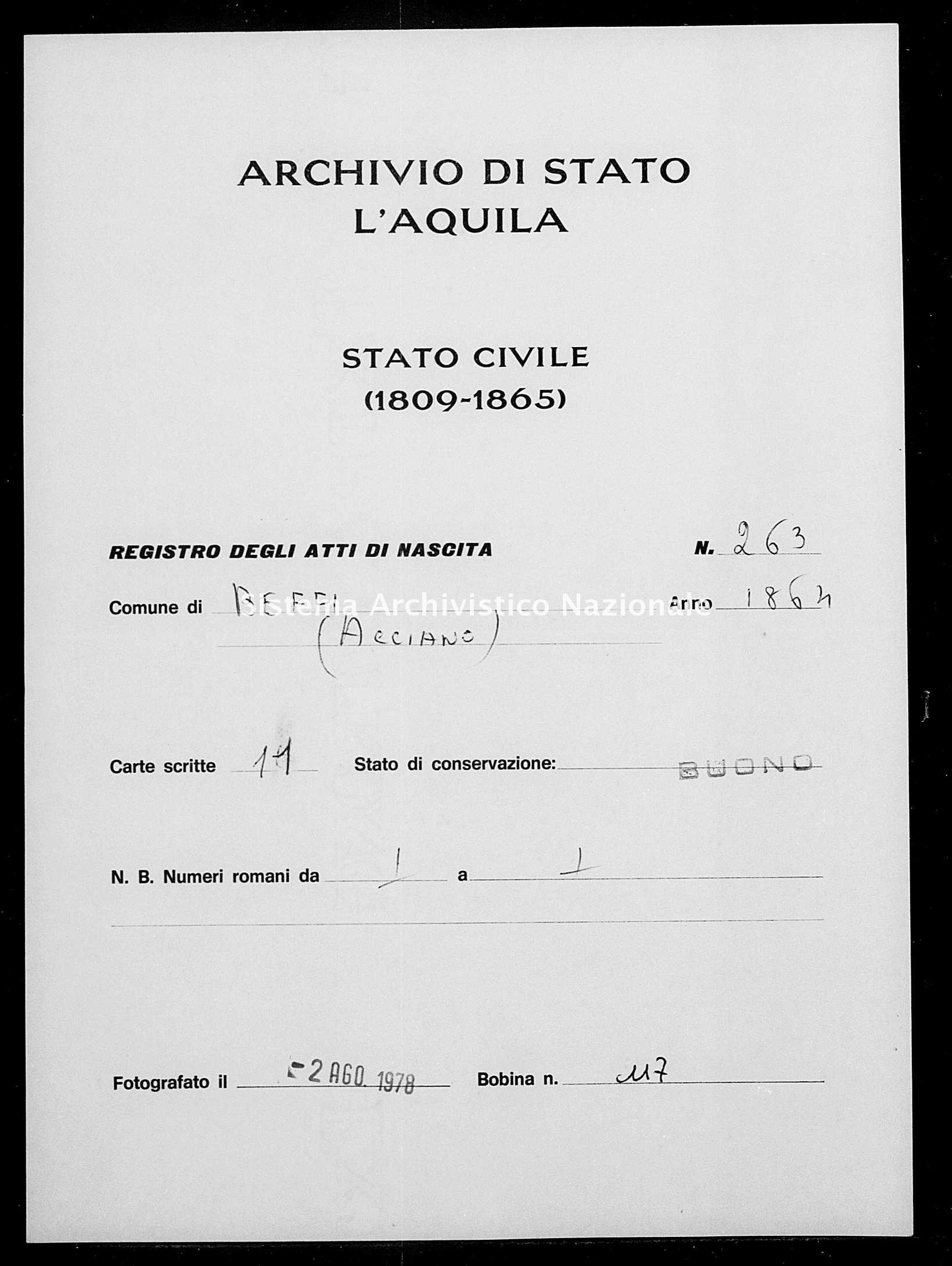 Archivio di stato di L'aquila - Stato civile italiano - Beffi - Nati - 1864 - 263 -
