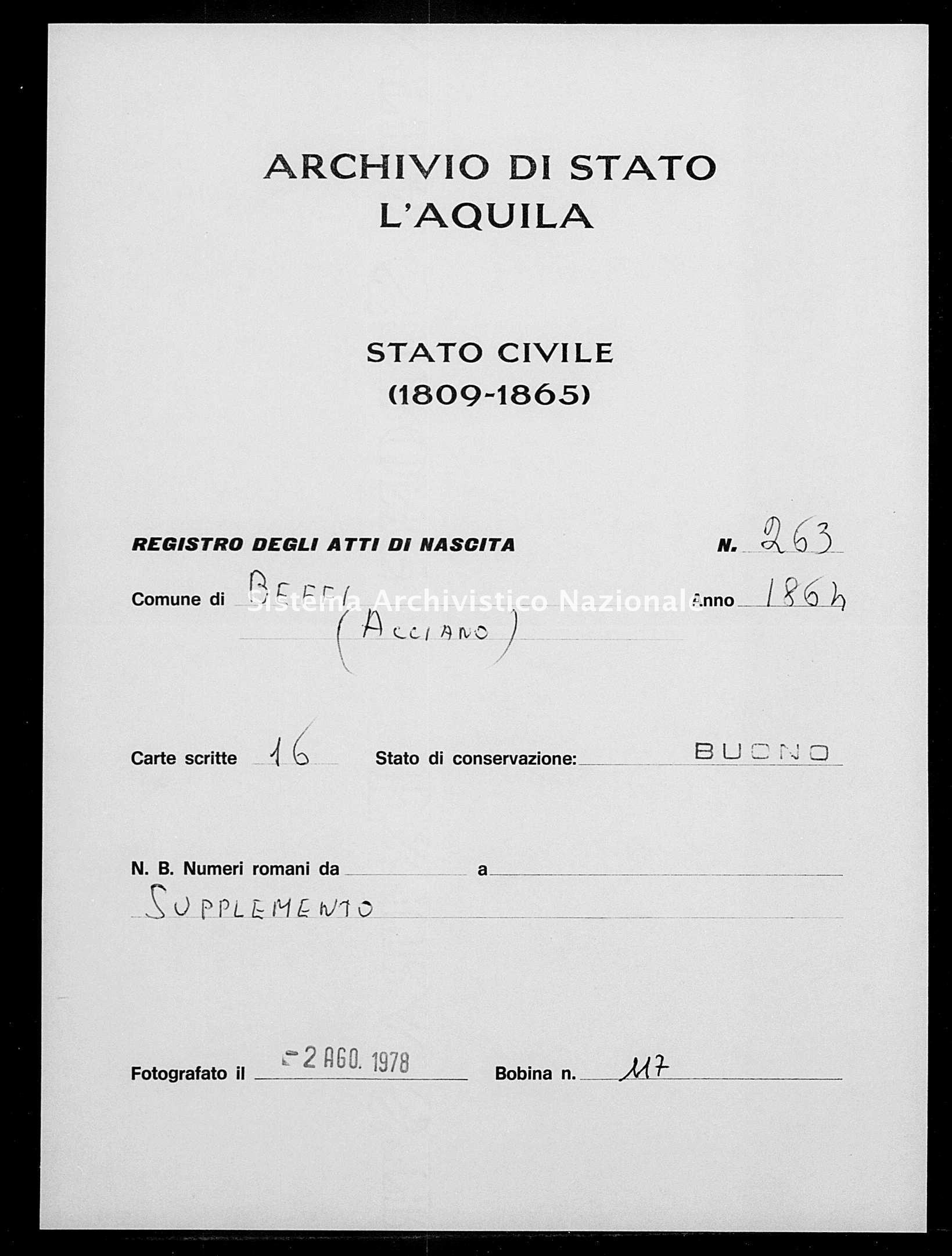 Archivio di stato di L'aquila - Stato civile italiano - Beffi - Nati, battesimi - 1864 - 263 -
