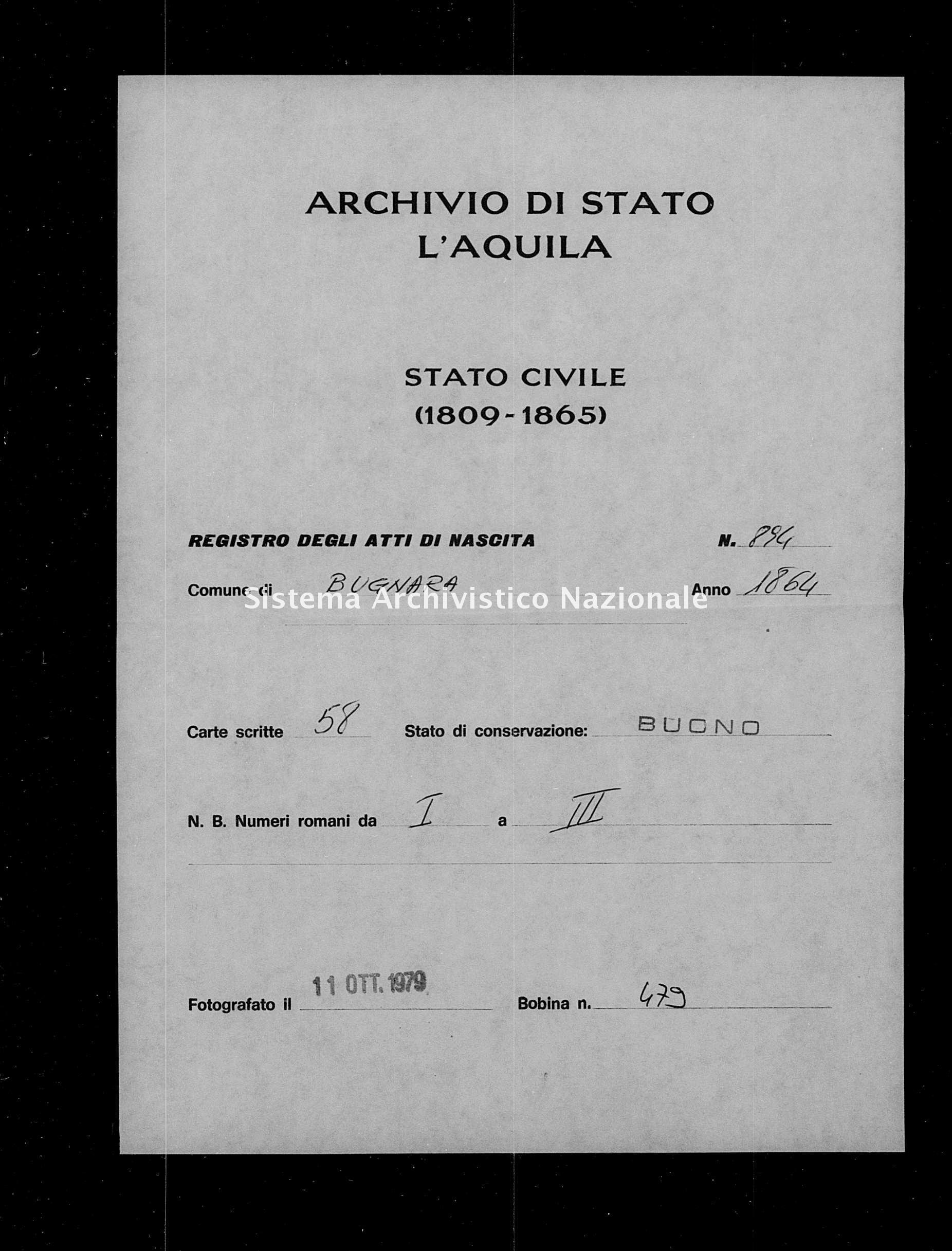 Archivio di stato di L'aquila - Stato civile italiano - Bugnara - Nati - 04/01/1863-20/12/1863 - 894 -