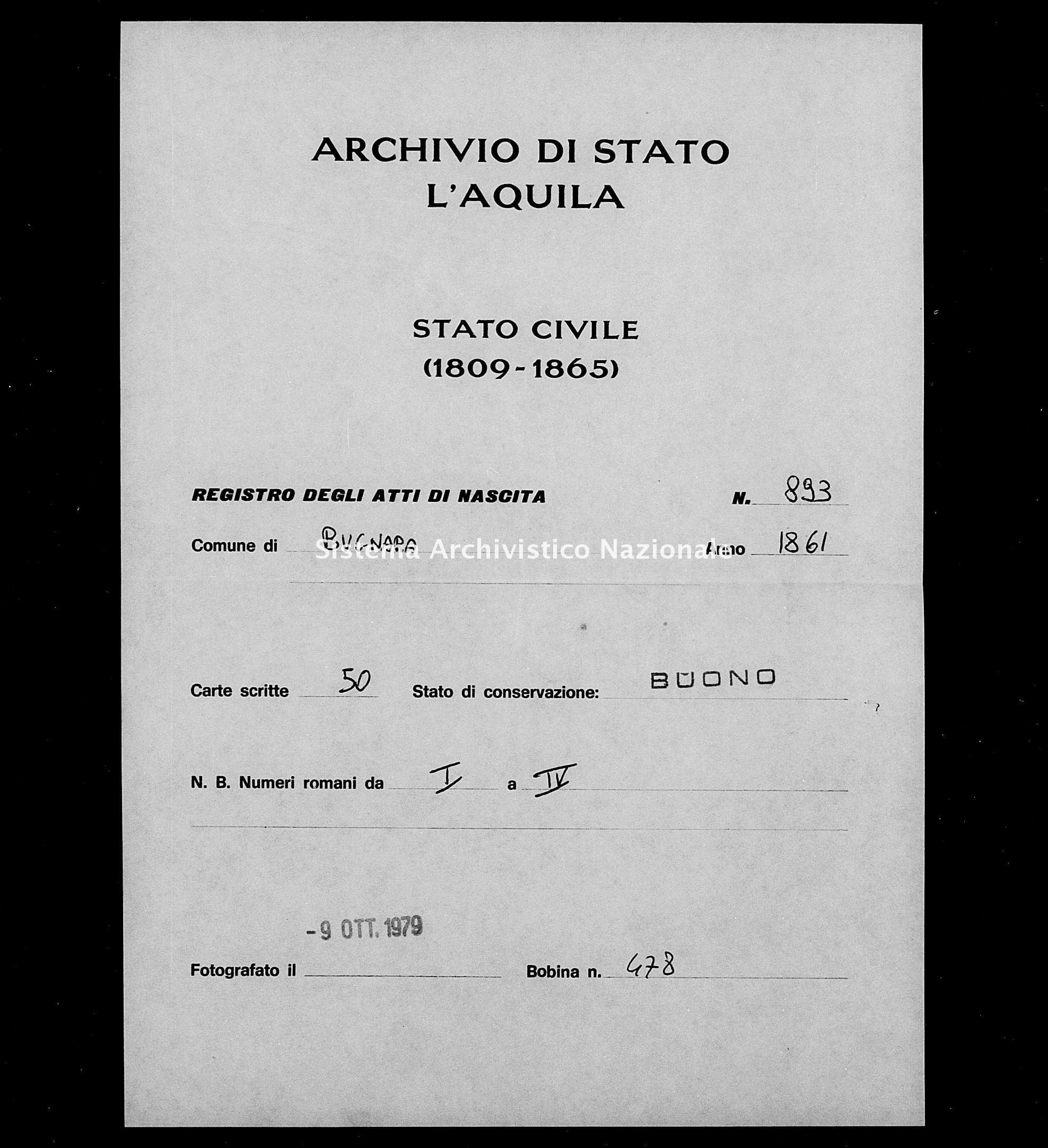 Archivio di stato di L'aquila - Stato civile italiano - Bugnara - Nati - 1861 - 893 -