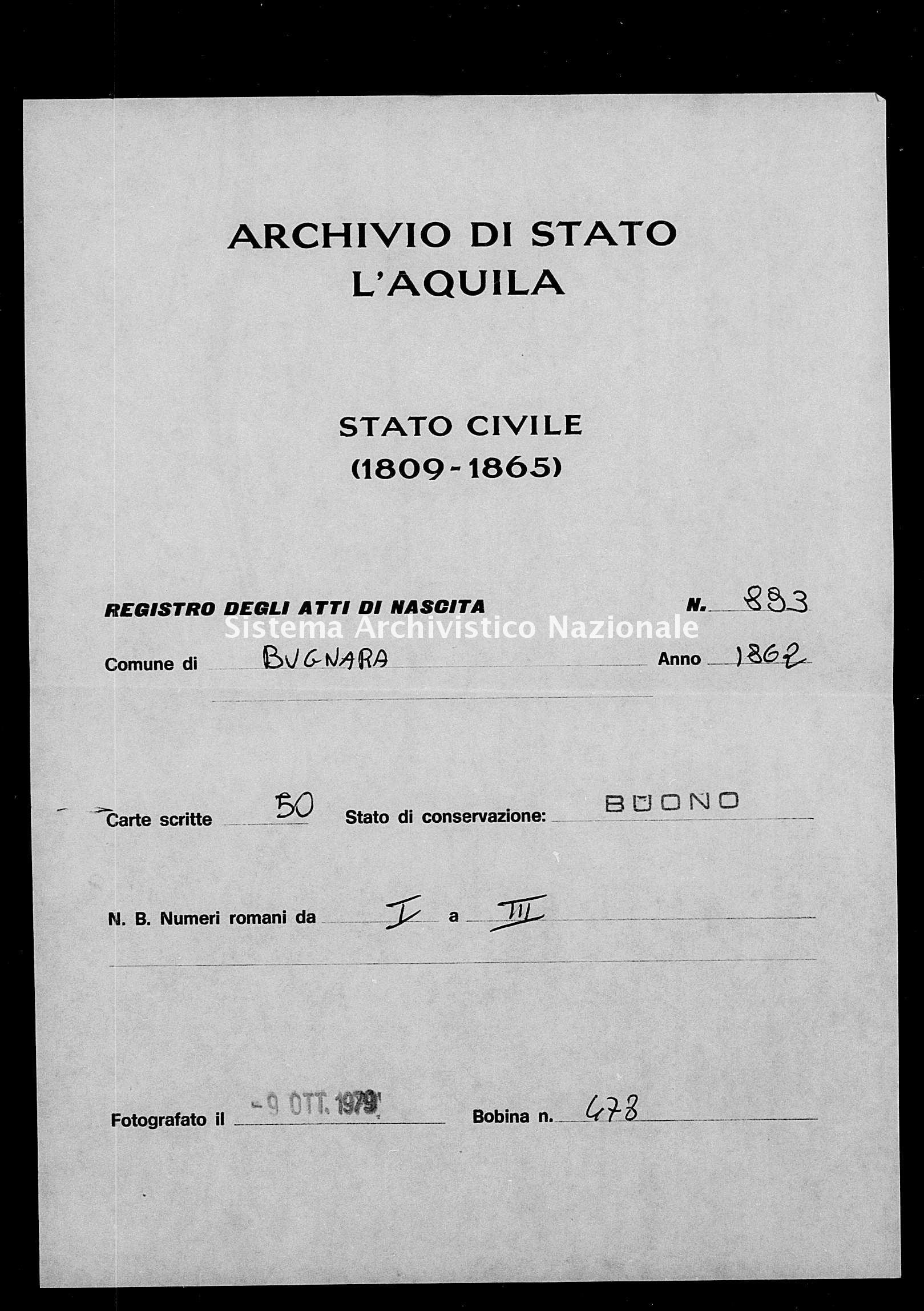 Archivio di stato di L'aquila - Stato civile italiano - Bugnara - Nati - 1862 - 893 -