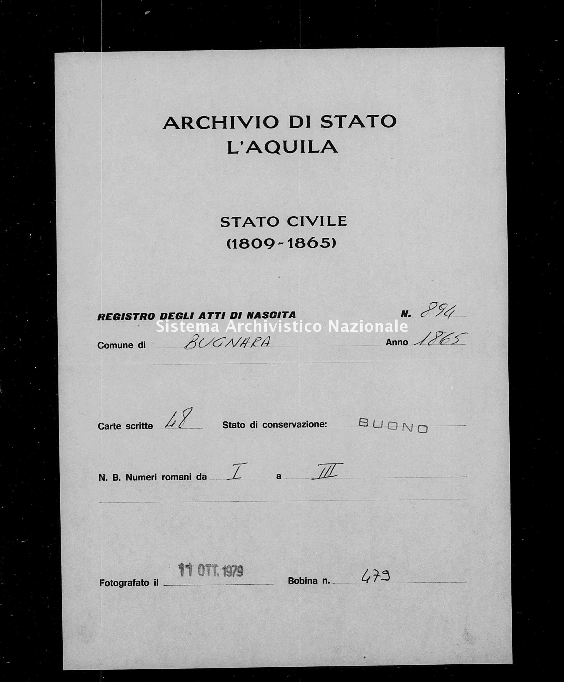 Archivio di stato di L'aquila - Stato civile italiano - Bugnara - Nati - 1865 - 894 -