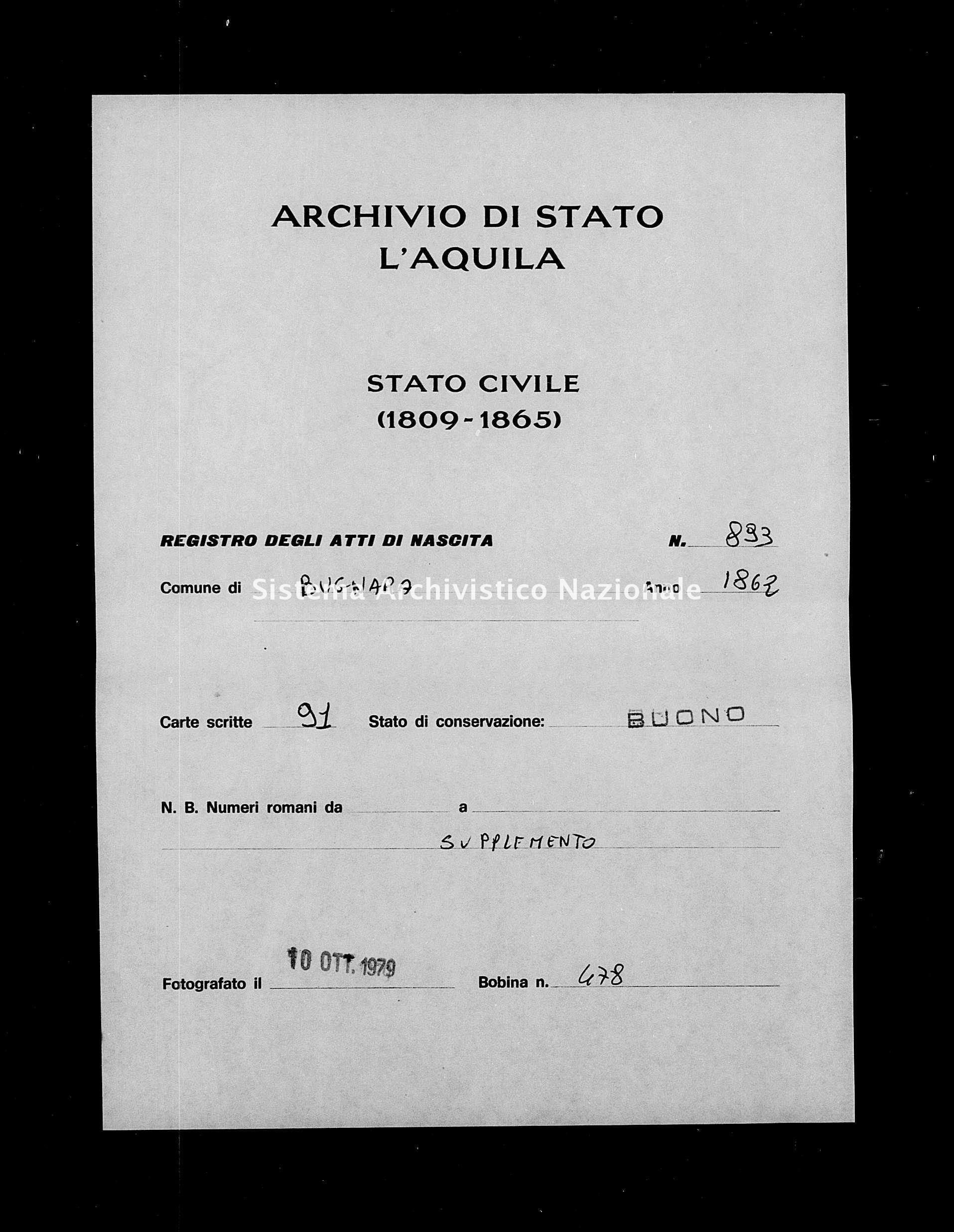 Archivio di stato di L'aquila - Stato civile italiano - Bugnara - Nati, battesimi - 1862 - 893 -