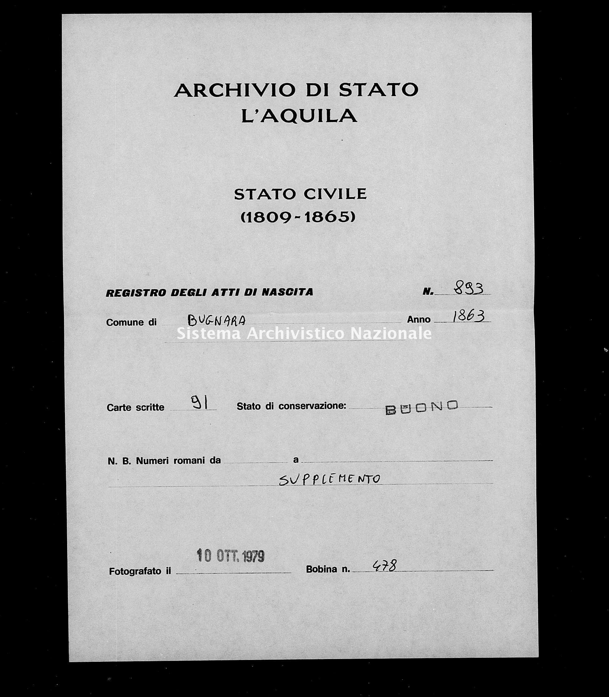 Archivio di stato di L'aquila - Stato civile italiano - Bugnara - Nati, battesimi - 1863 - 893 -