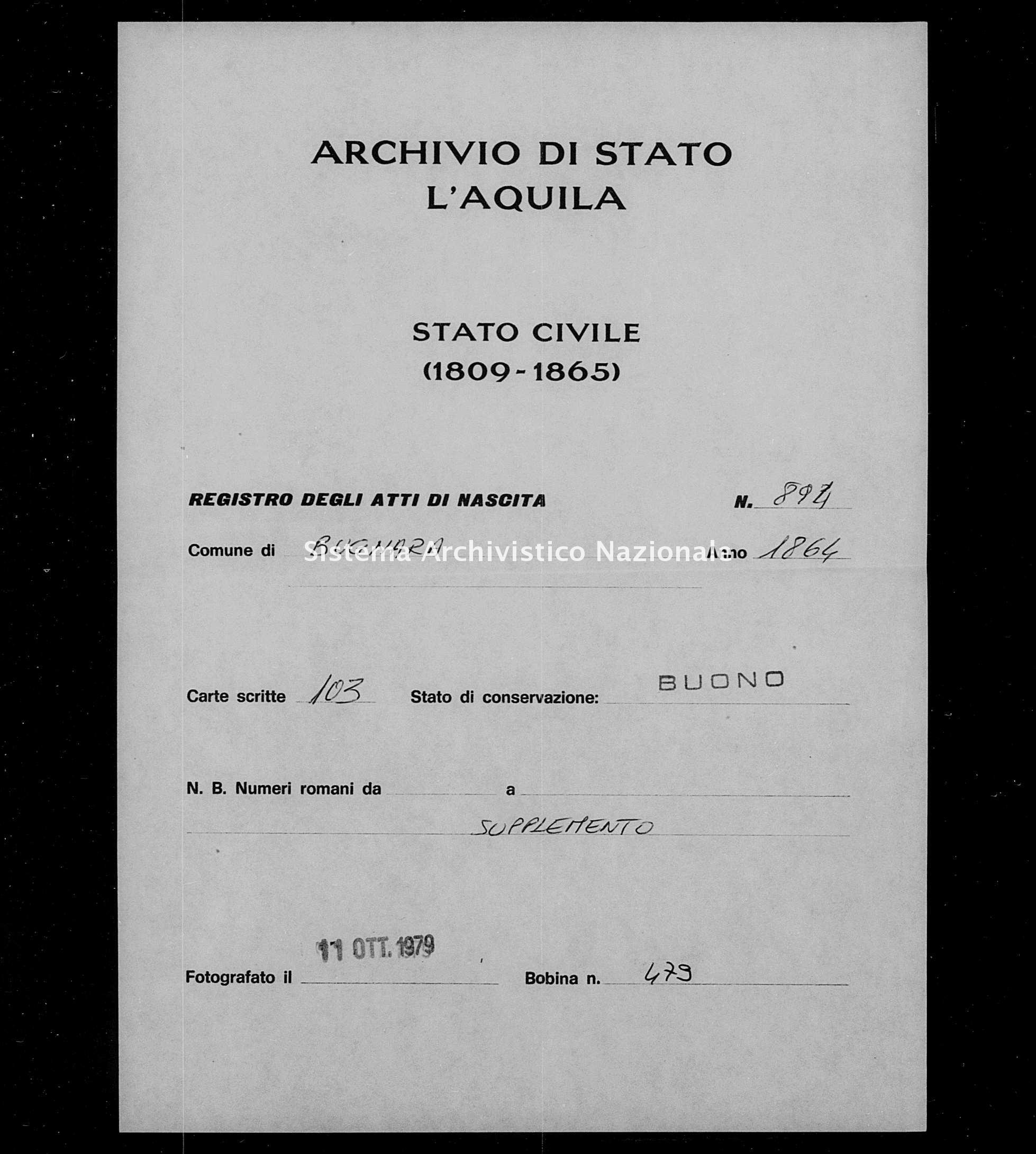 Archivio di stato di L'aquila - Stato civile italiano - Bugnara - Nati, battesimi - 1864 - 894 -