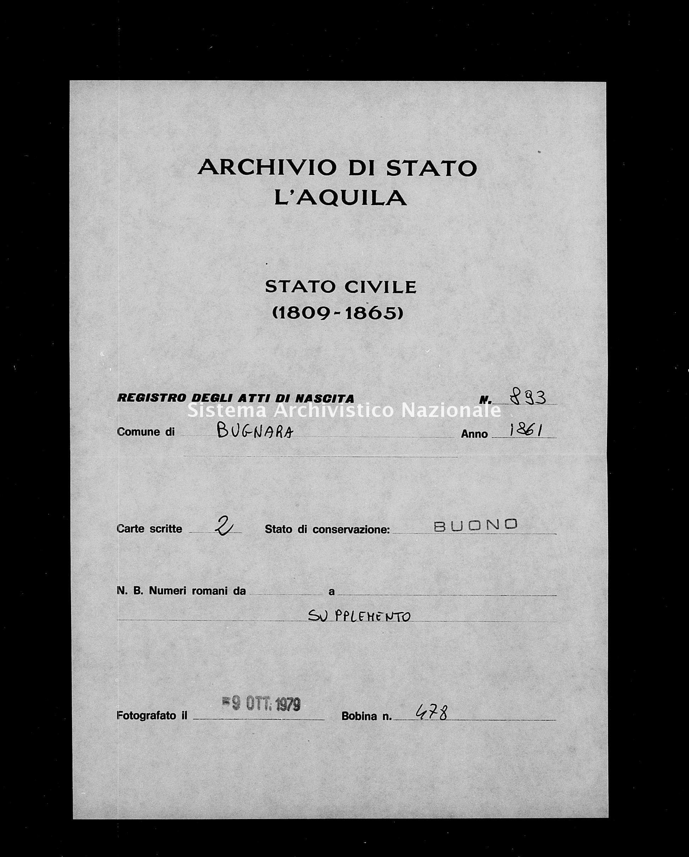 Archivio di stato di L'aquila - Stato civile italiano - Bugnara - Nati, esposti - 1861 - 893 -