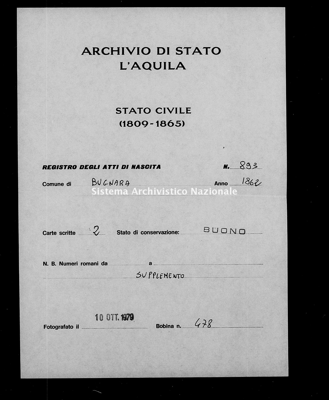 Archivio di stato di L'aquila - Stato civile italiano - Bugnara - Nati, esposti - 1862 - 893 -