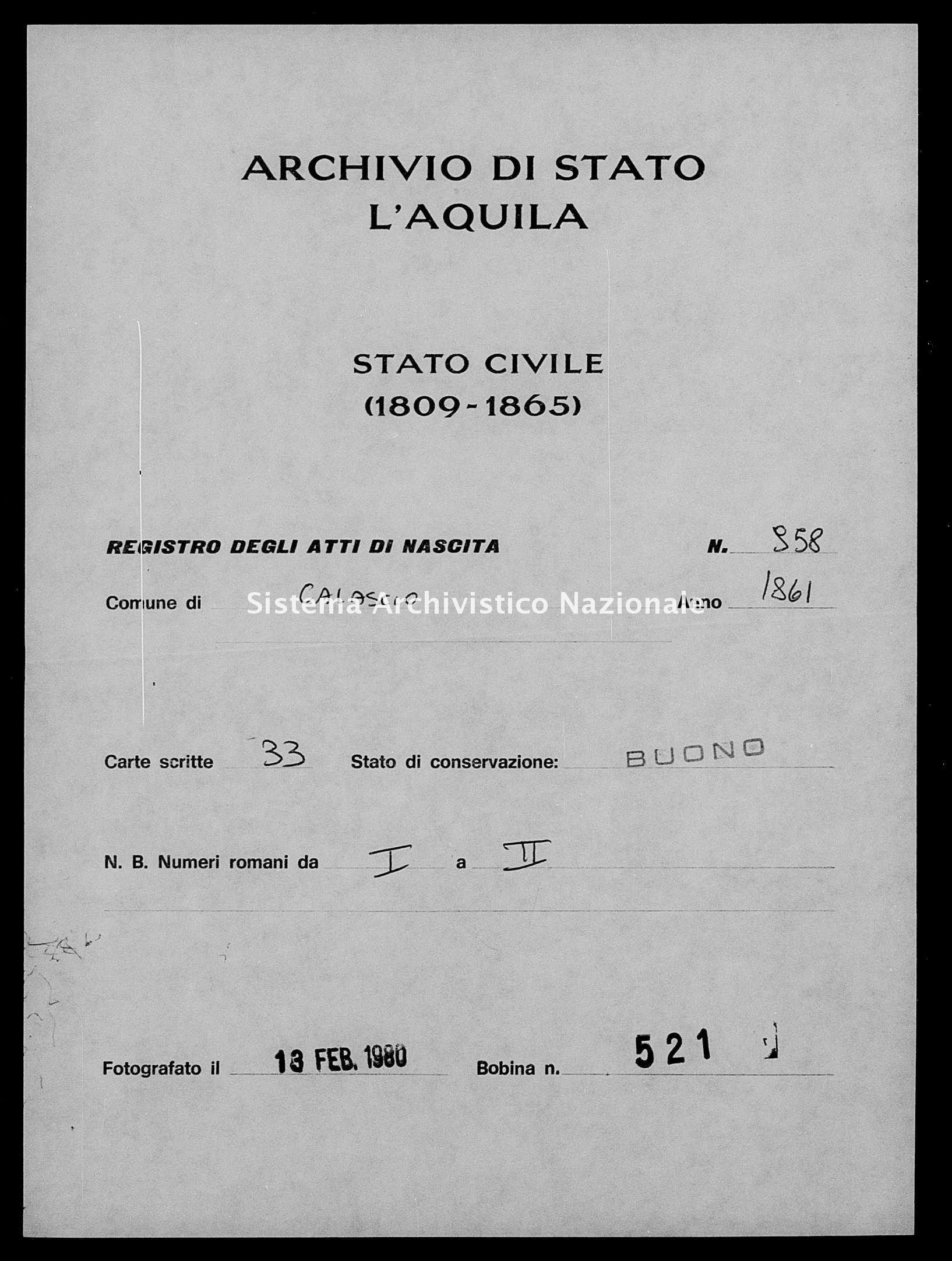 Archivio di stato di L'aquila - Stato civile italiano - Calascio - Nati - 1861 - 958 -