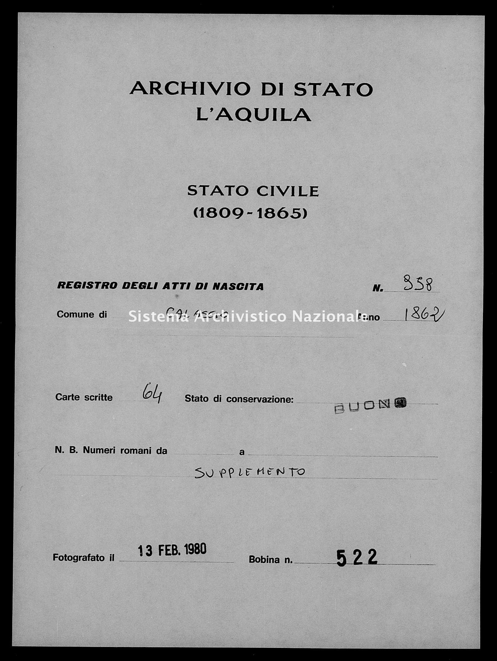 Archivio di stato di L'aquila - Stato civile italiano - Calascio - Nati, battesimi - 1862 - 958 -