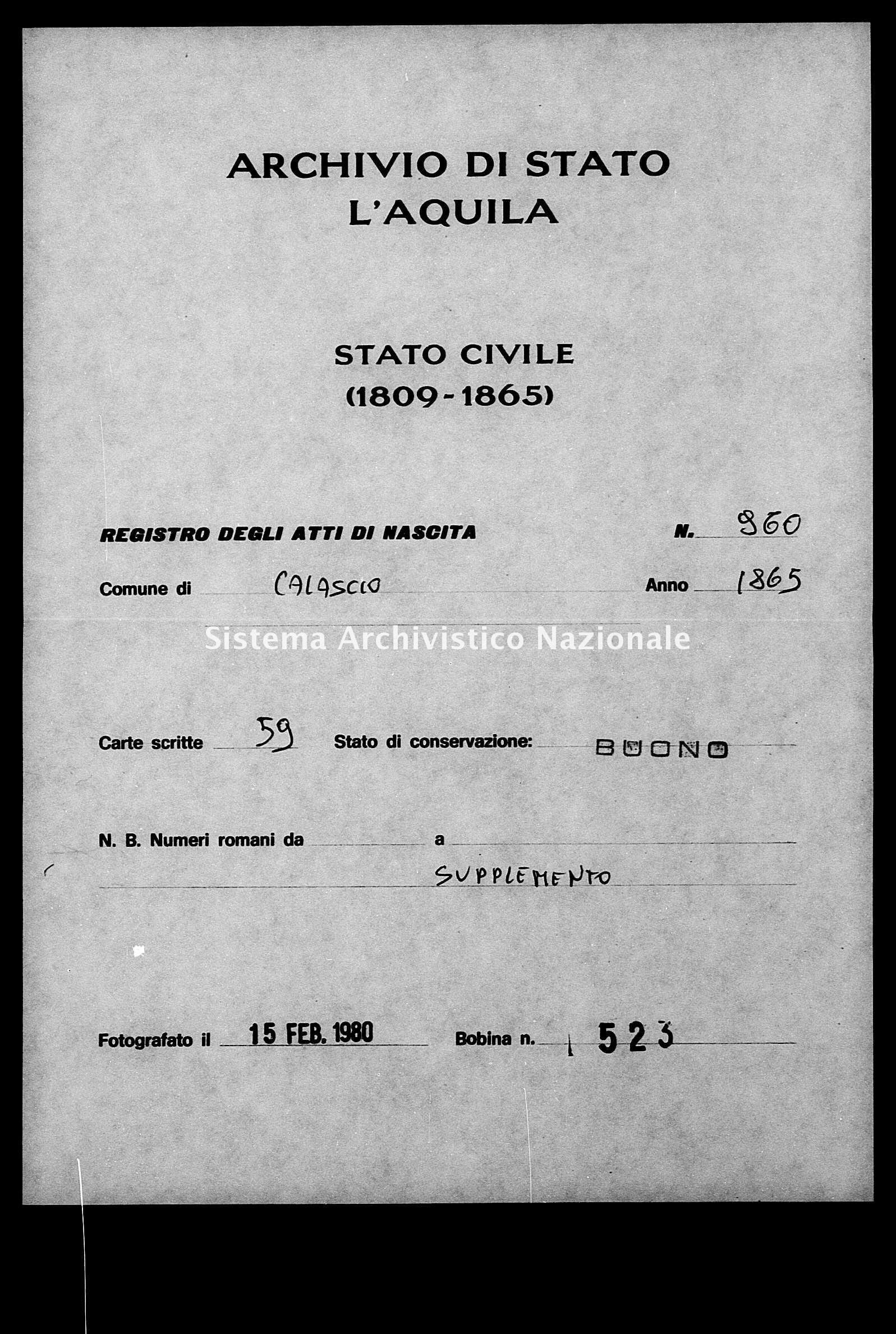 Archivio di stato di L'aquila - Stato civile italiano - Calascio - Nati, battesimi - 1865 - 960 -