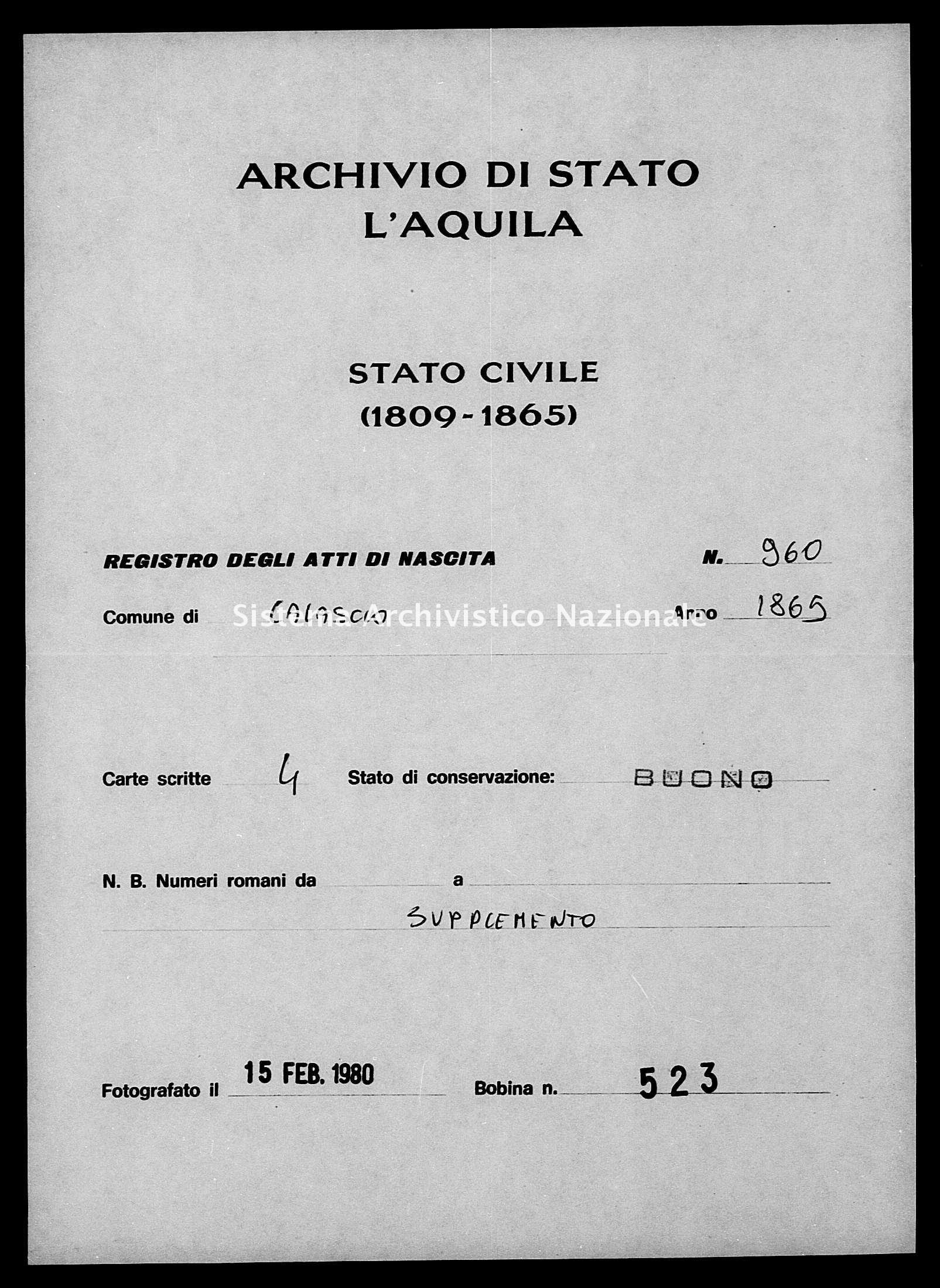 Archivio di stato di L'aquila - Stato civile italiano - Calascio - Nati, esposti - 1865 - 960 -