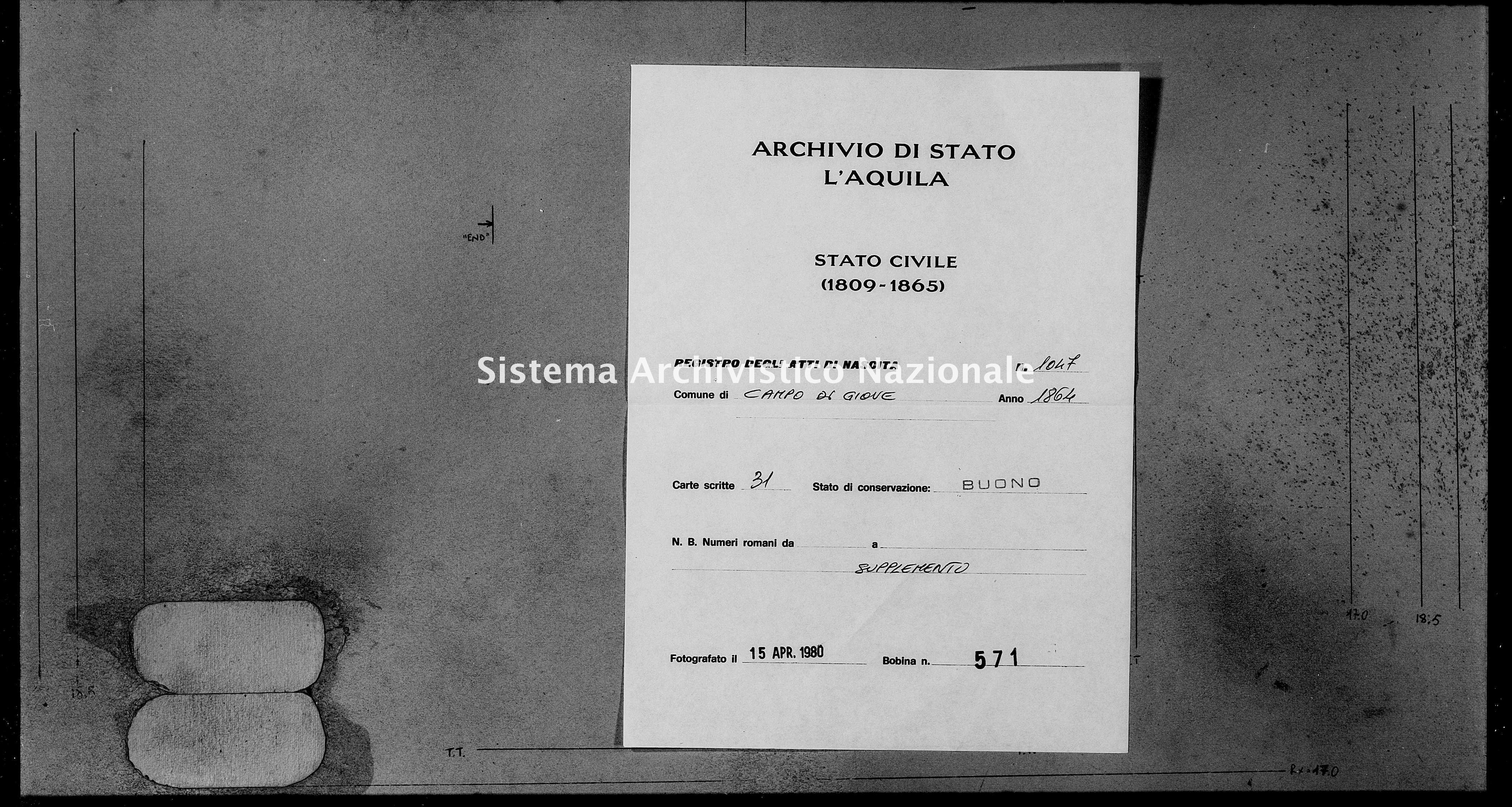 Archivio di stato di L'aquila - Stato civile italiano - Campo di Giove - Nati, battesimi - 1864 - 1047 -