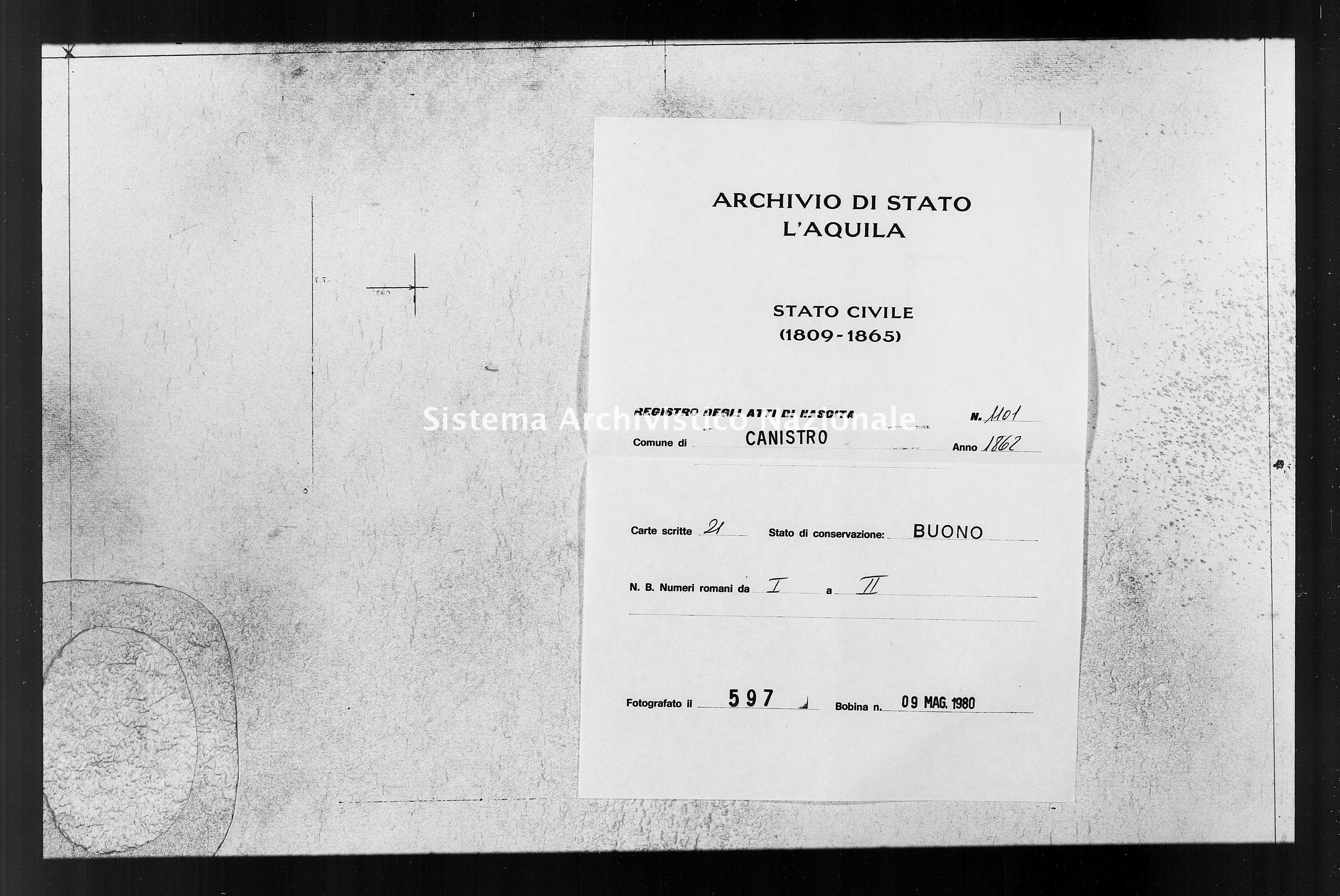 Archivio di stato di L'aquila - Stato civile italiano - Canistro - Nati - 1862 - 1101 -