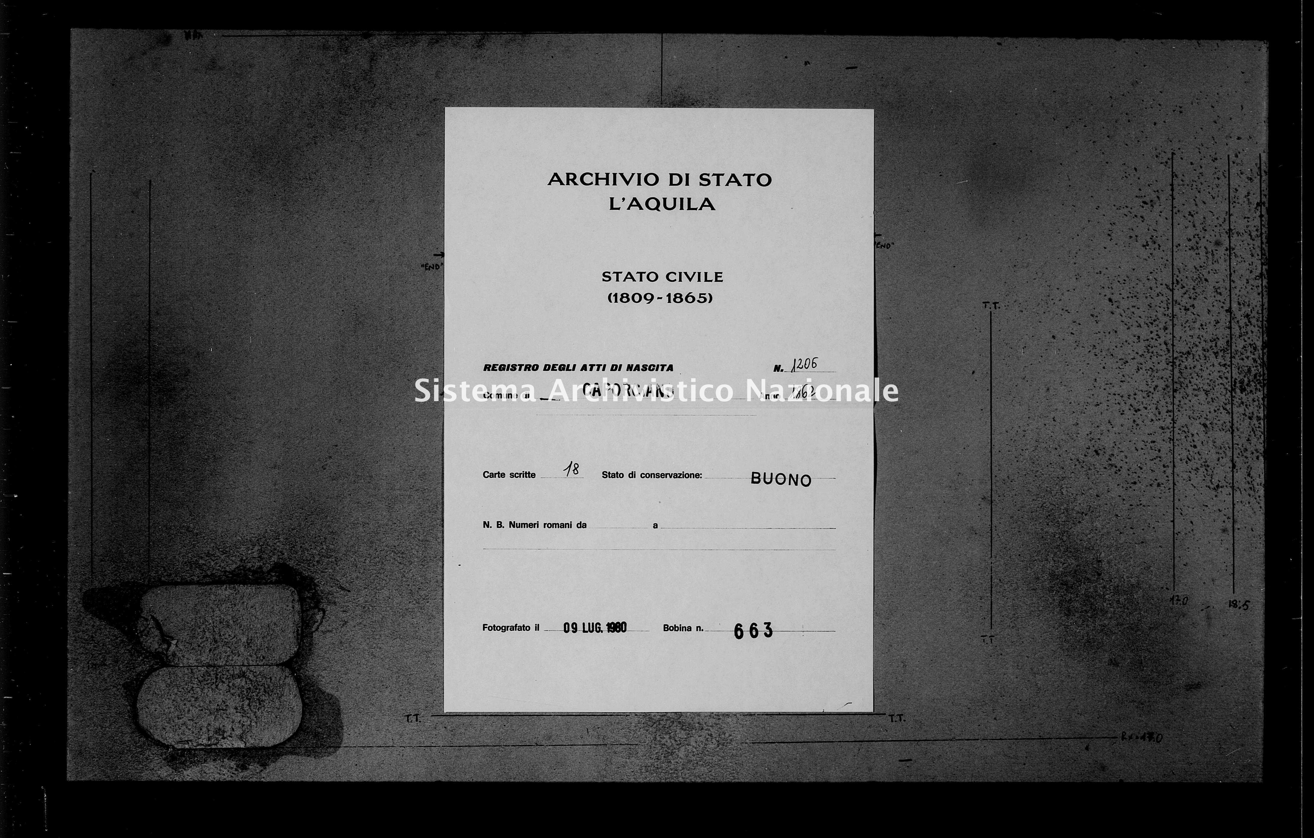 Archivio di stato di L'aquila - Stato civile italiano - Caporciano - Nati - 1862 - 1206 -