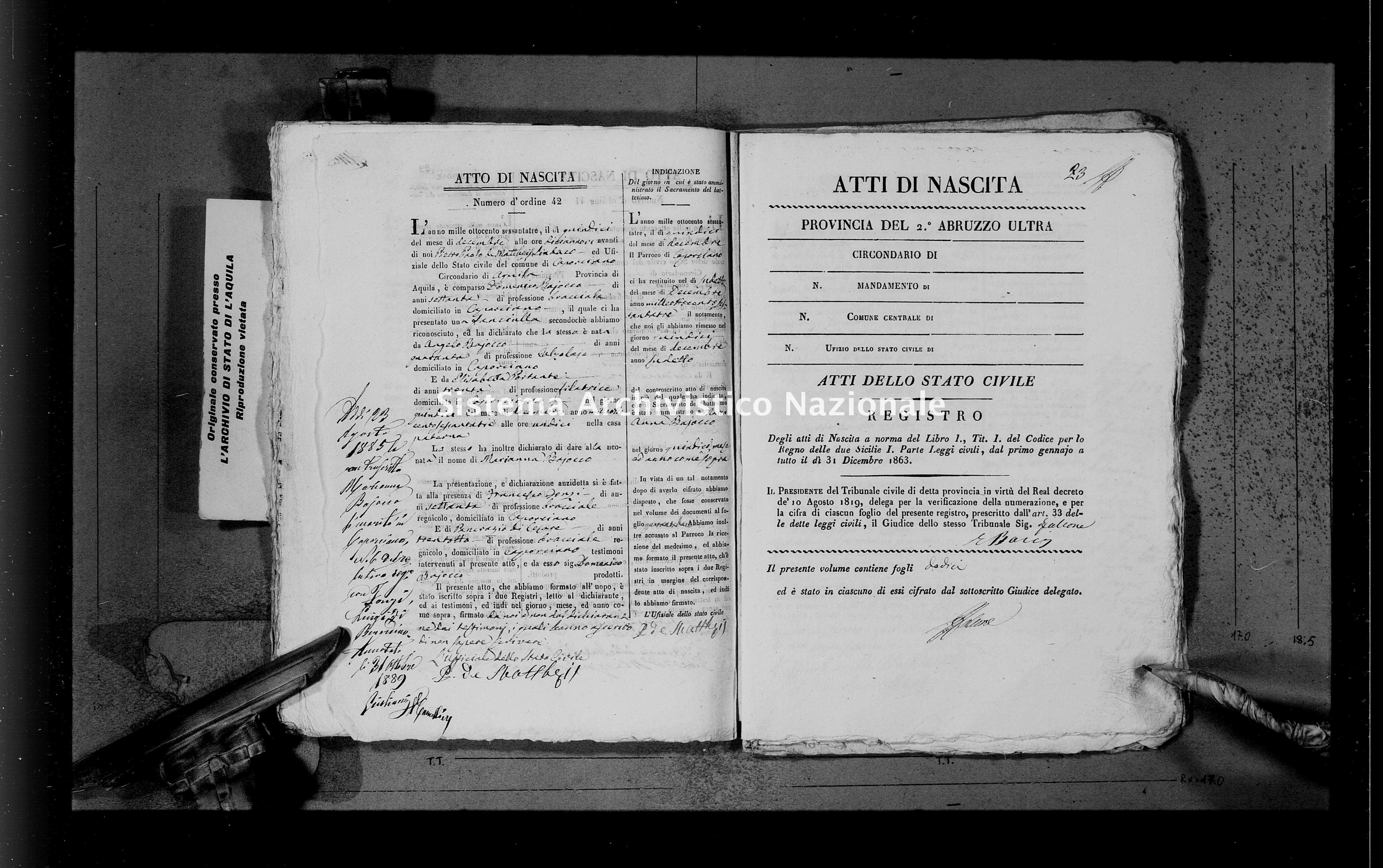Archivio di stato di L'aquila - Stato civile italiano - Caporciano - Nati - 23/12/1863-29/12/1863 - 1207 -
