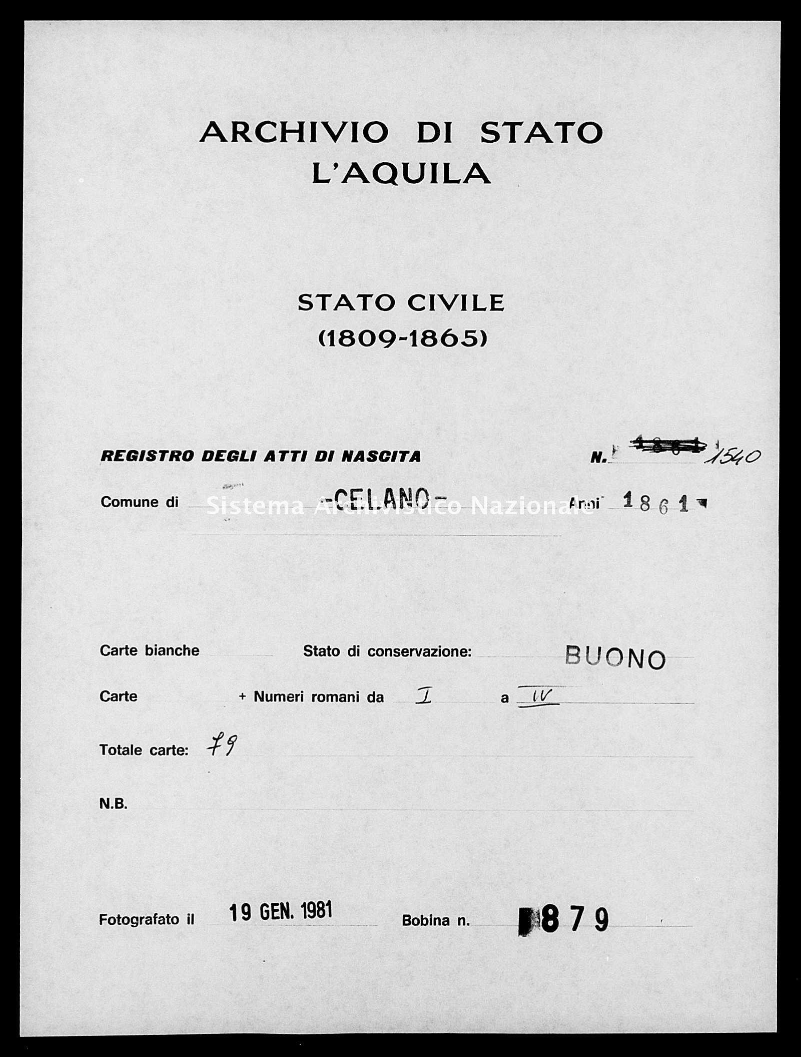 Archivio di stato di L'aquila - Stato civile italiano - Celano - Nati - 1861 - 1540 -