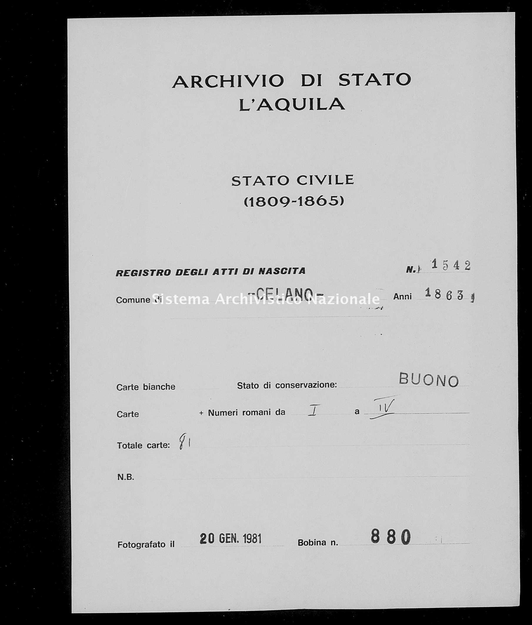 Archivio di stato di L'aquila - Stato civile italiano - Celano - Nati - 1863 - 1542 -