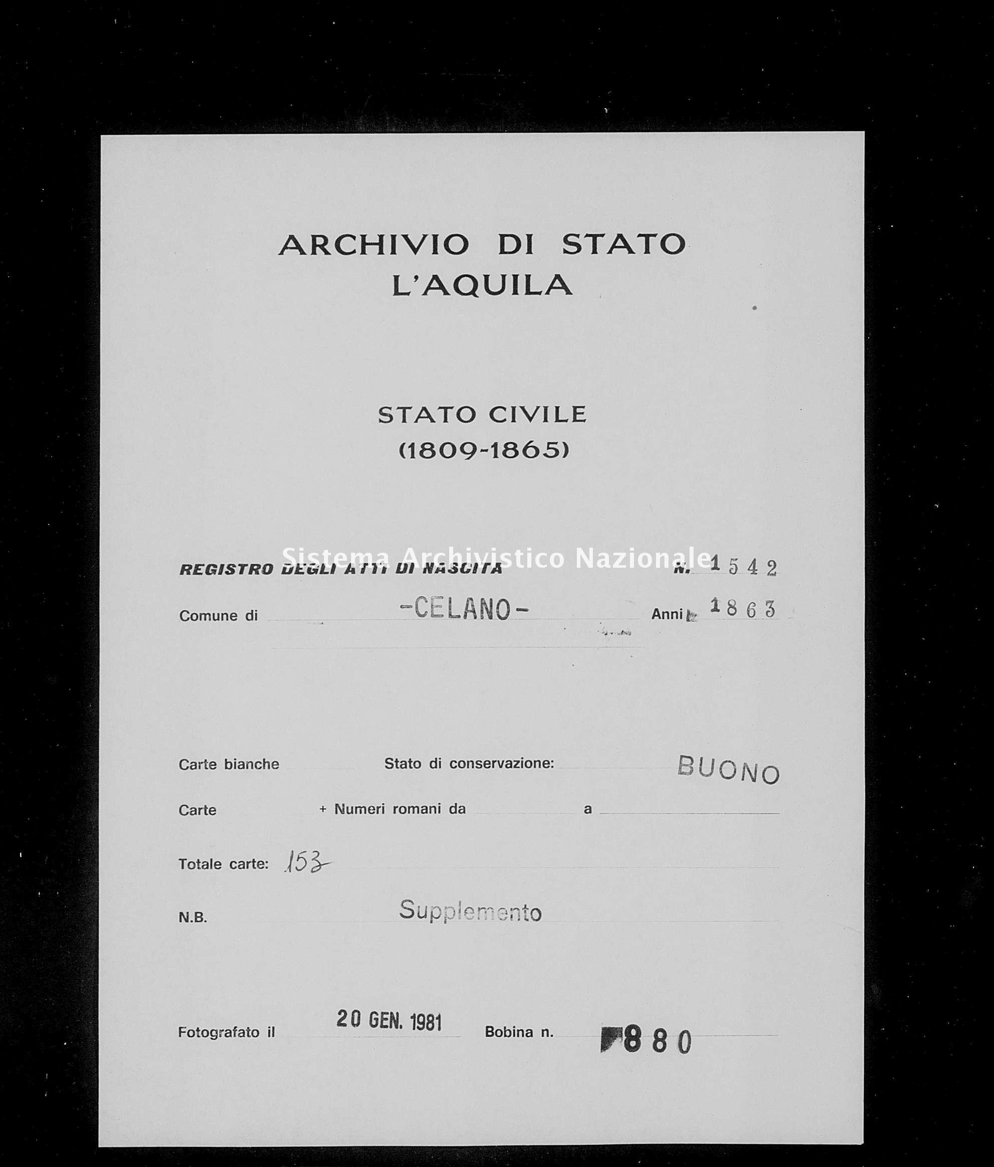 Archivio di stato di L'aquila - Stato civile italiano - Celano - Nati, battesimi - 1863 - 1542 -