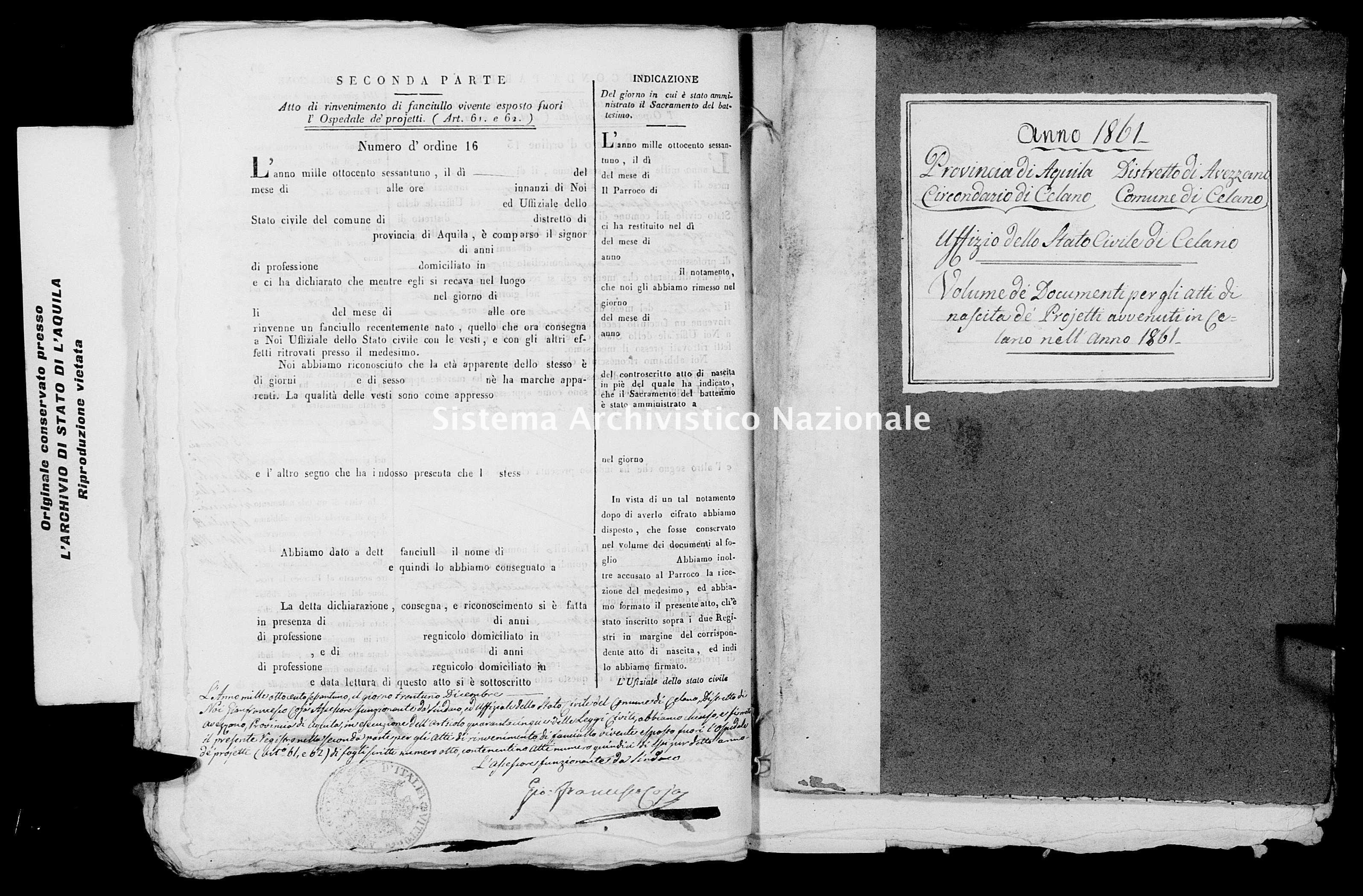 Archivio di stato di L'aquila - Stato civile italiano - Celano - Nati, battesimi esposti - 1861 - 1540 -