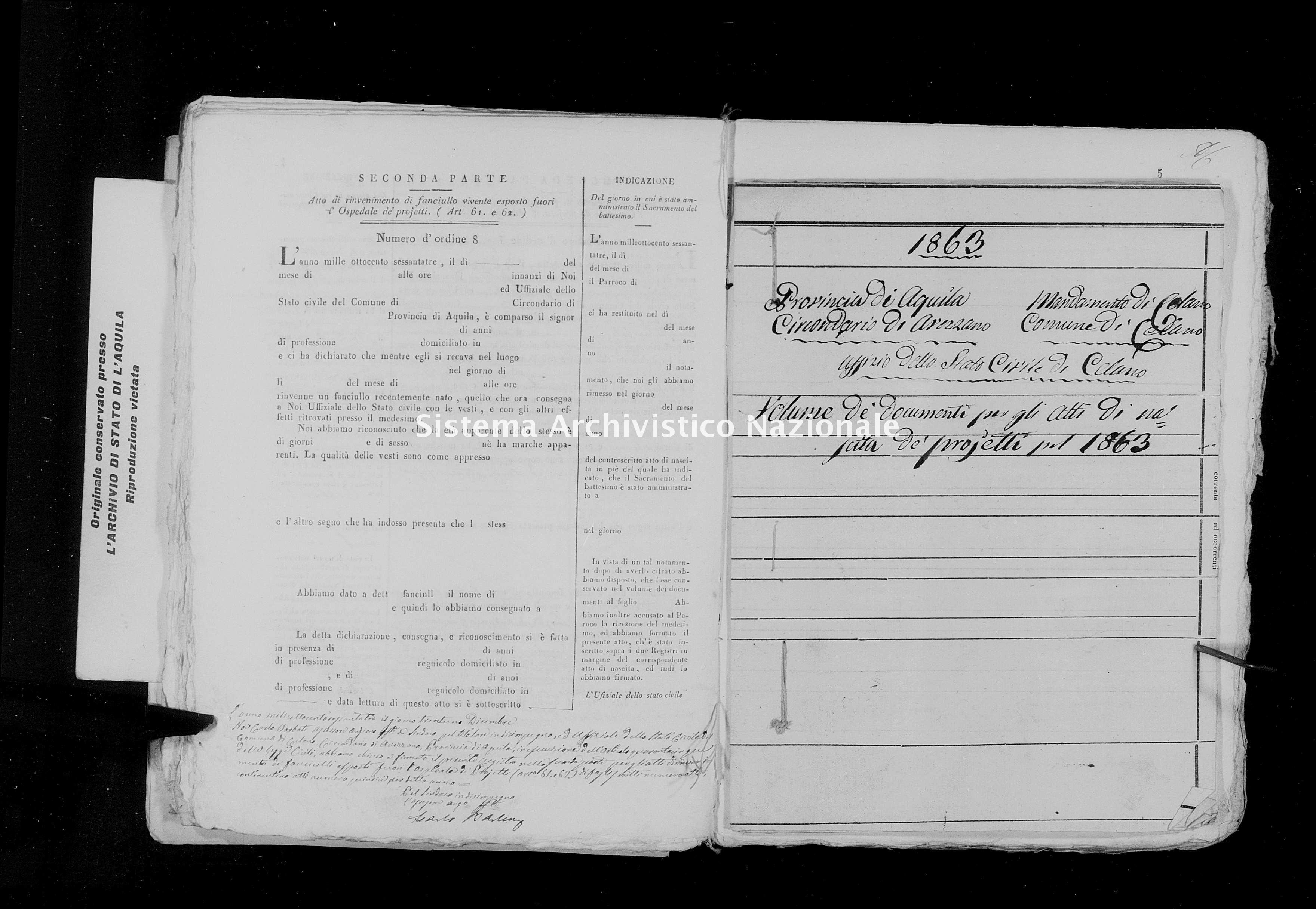 Archivio di stato di L'aquila - Stato civile italiano - Celano - Nati, battesimi esposti - 1863 - 1542 -