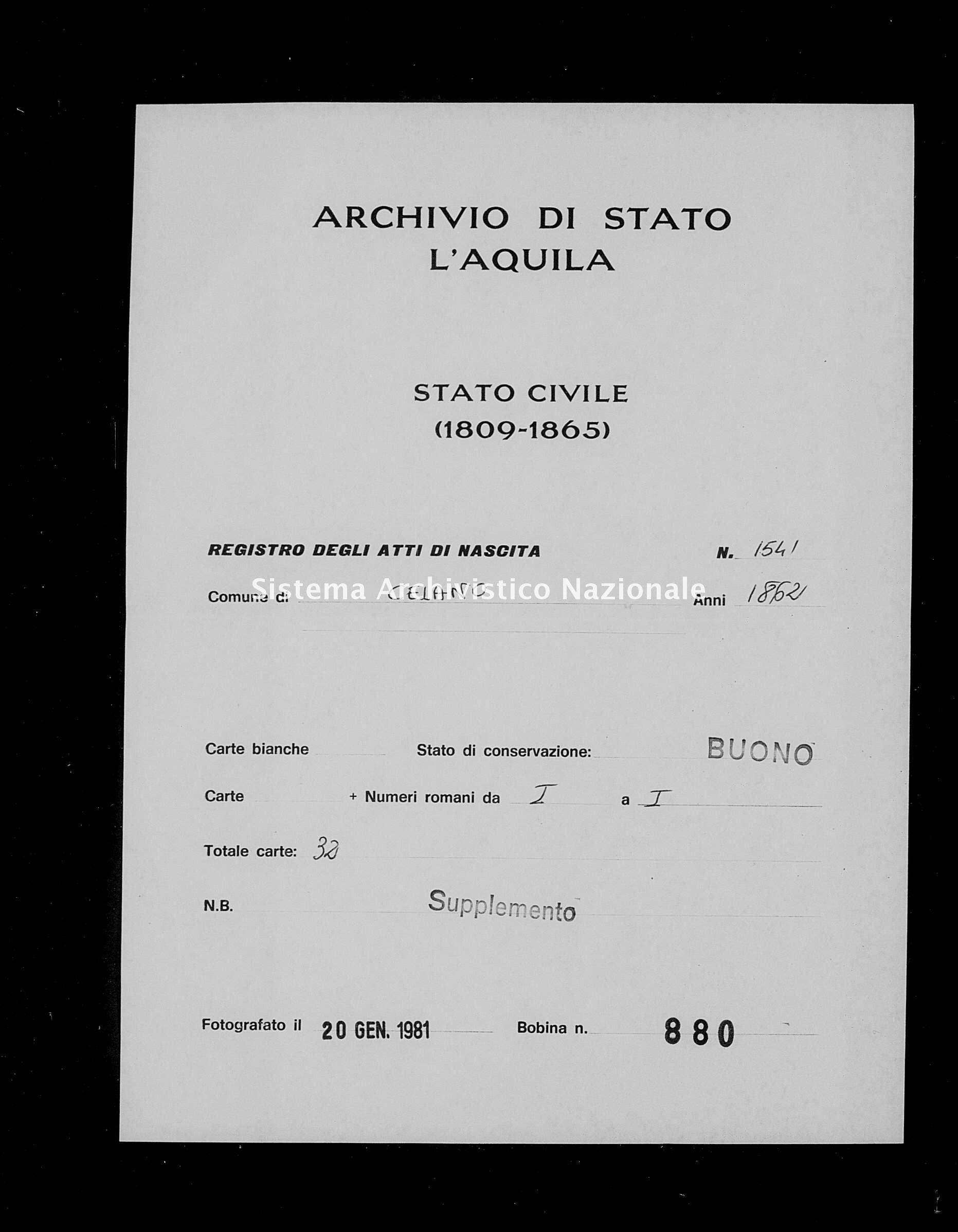 Archivio di stato di L'aquila - Stato civile italiano - Celano - Nati, esposti - 1862 - 1541 -
