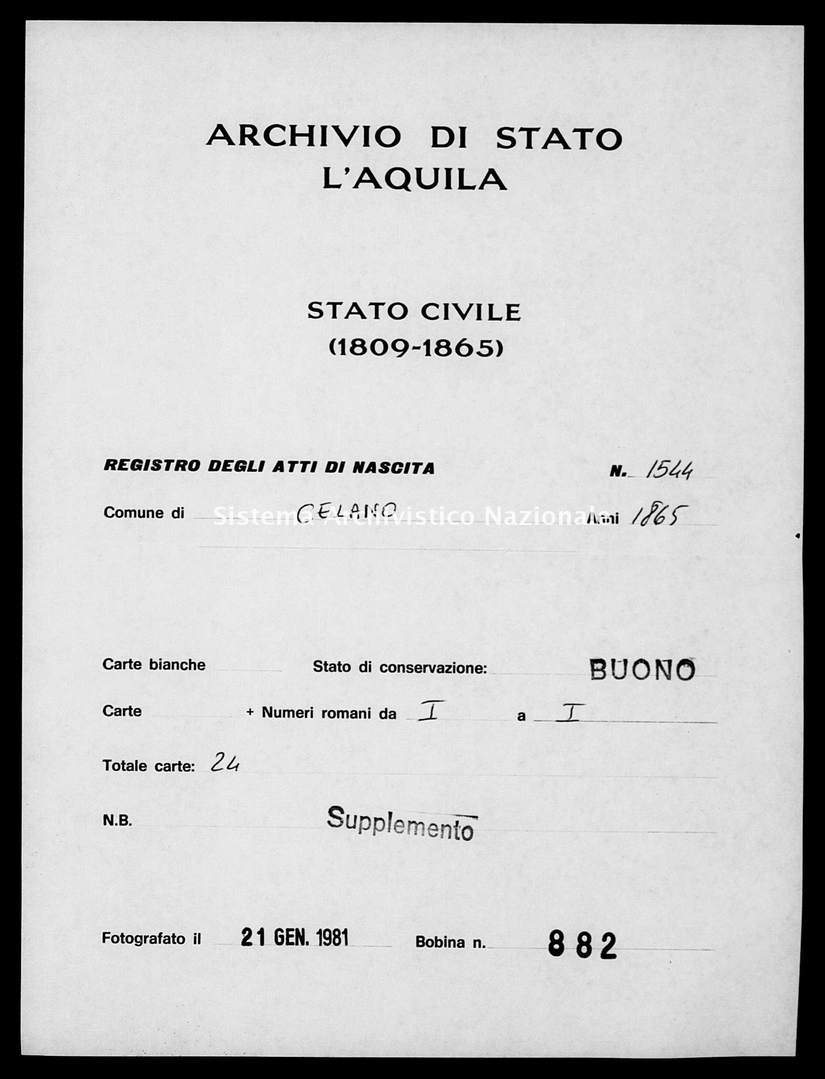 Archivio di stato di L'aquila - Stato civile italiano - Celano - Nati, esposti - 1865 - 1544 -