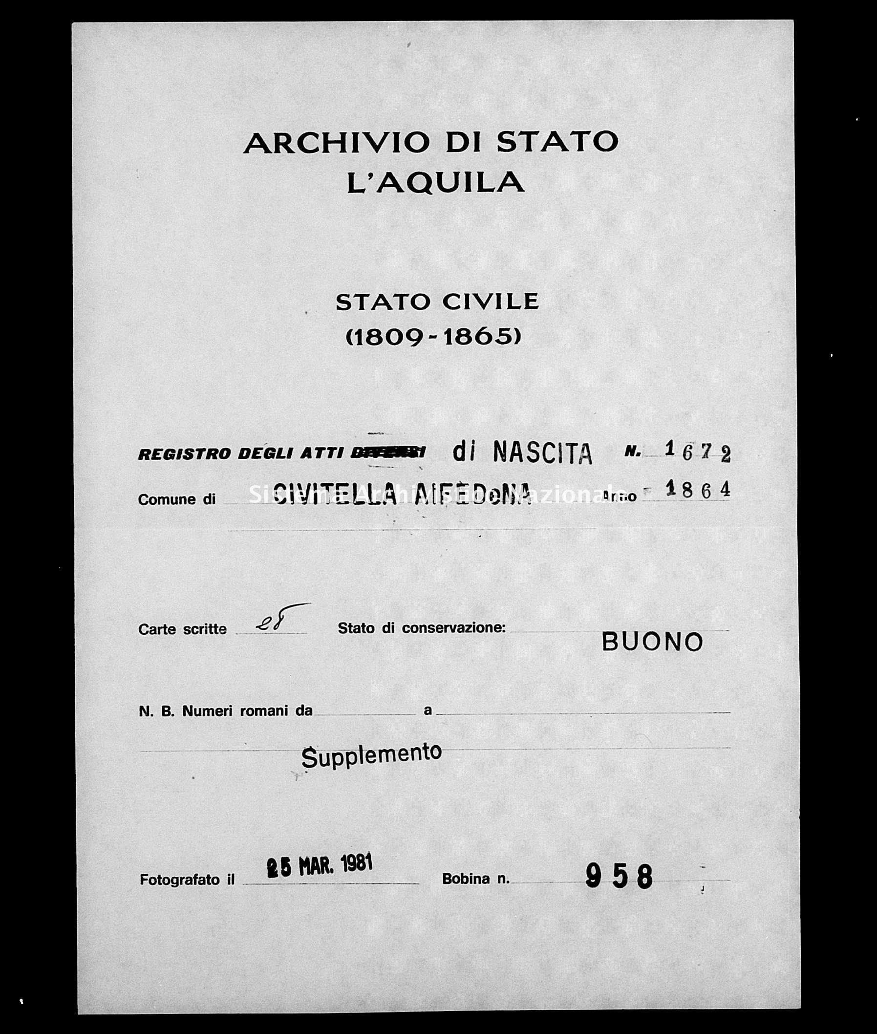 Archivio di stato di L'aquila - Stato civile italiano - Civitella Alfedena - Nati, battesimi - 1864 - 1672 -