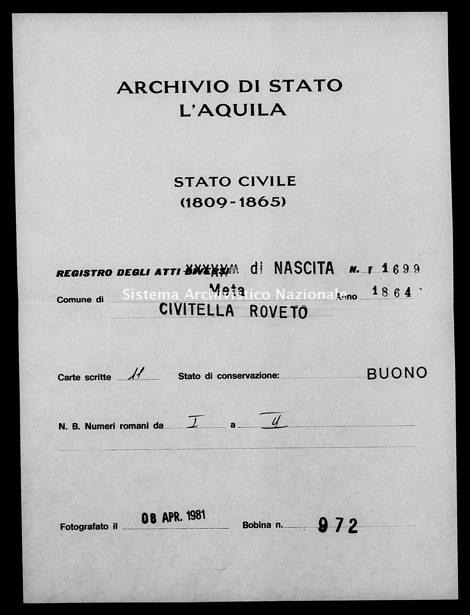 Archivio di stato di L'aquila - Stato civile italiano - Meta - Nati - 1864 - 1699 -