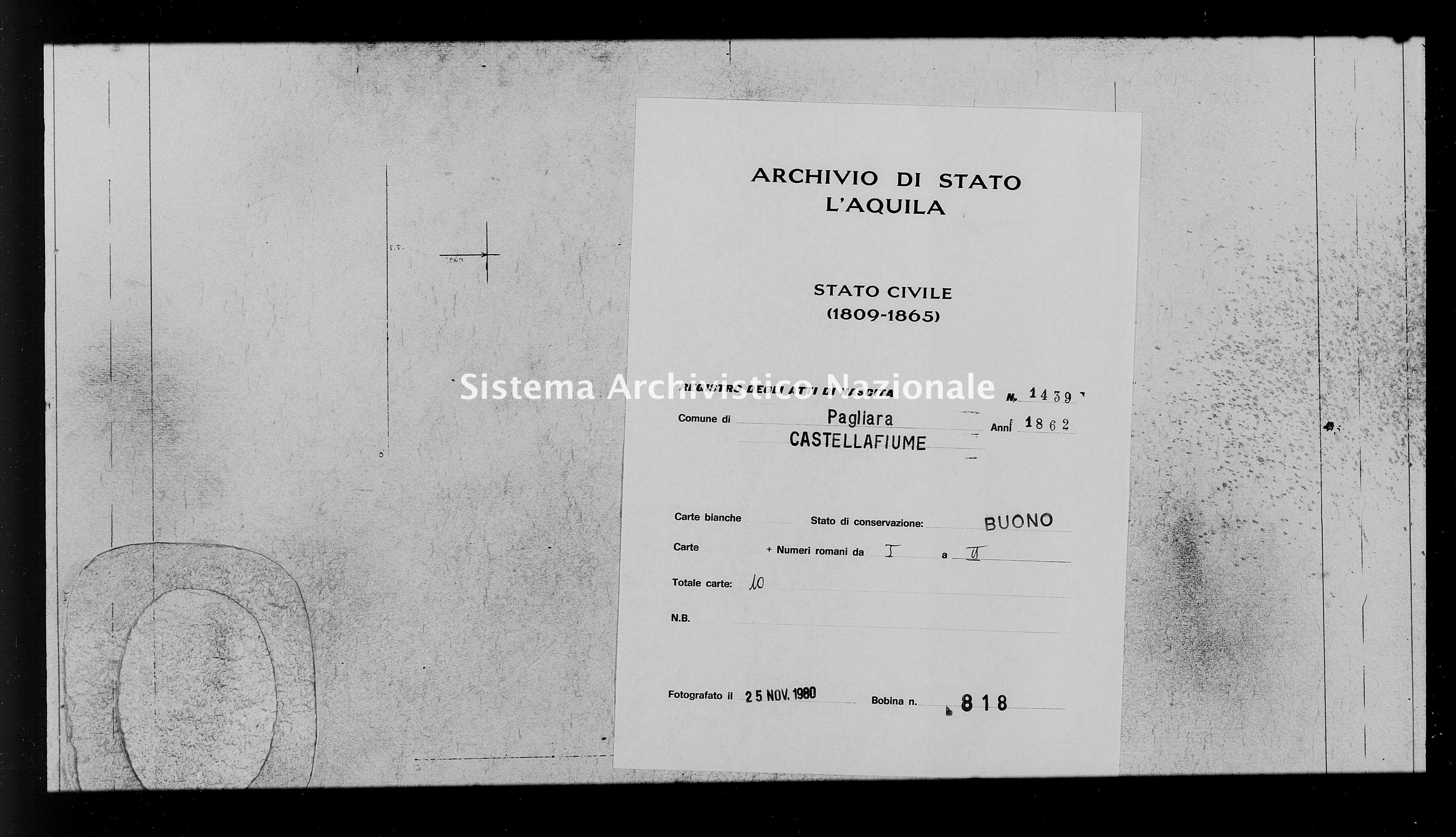 Archivio di stato di L'aquila - Stato civile italiano - Pagliara - Nati - 1862 - 1439 -