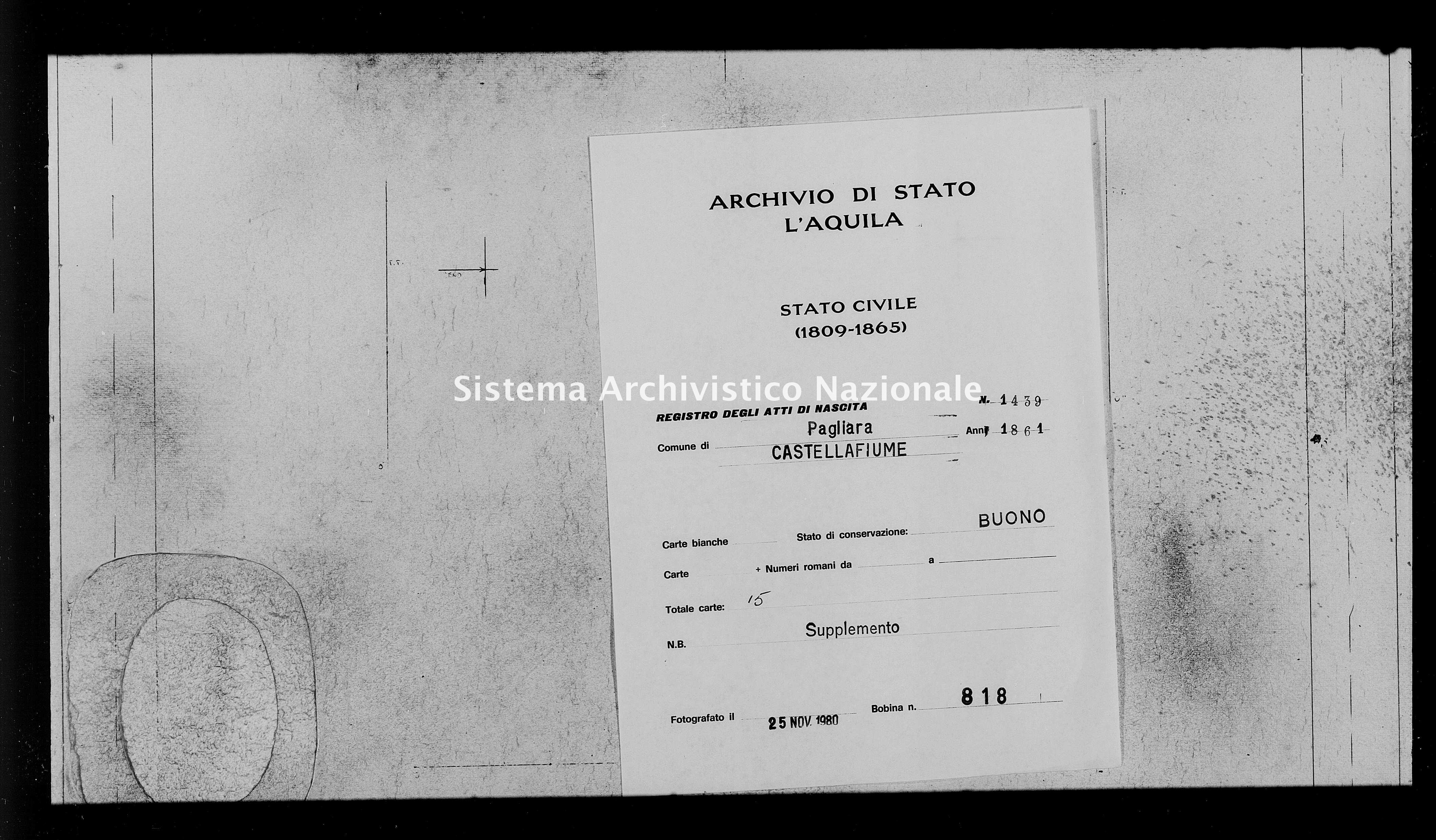 Archivio di stato di L'aquila - Stato civile italiano - Pagliara - Nati, battesimi - 1861 - 1439 -