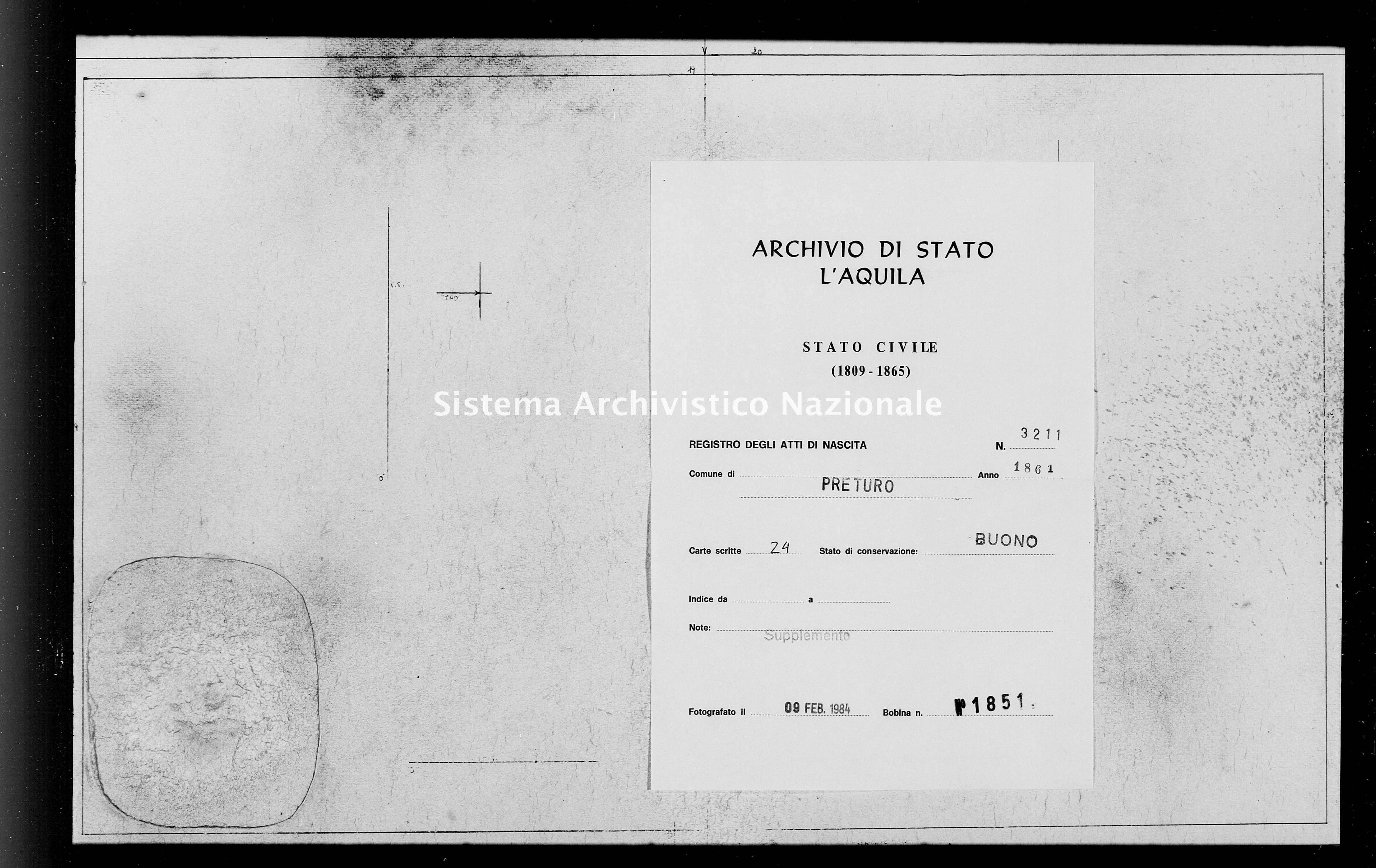 Archivio di stato di L'aquila - Stato civile italiano - Preturo - Nati, battesimi - 1861 - 3211 -